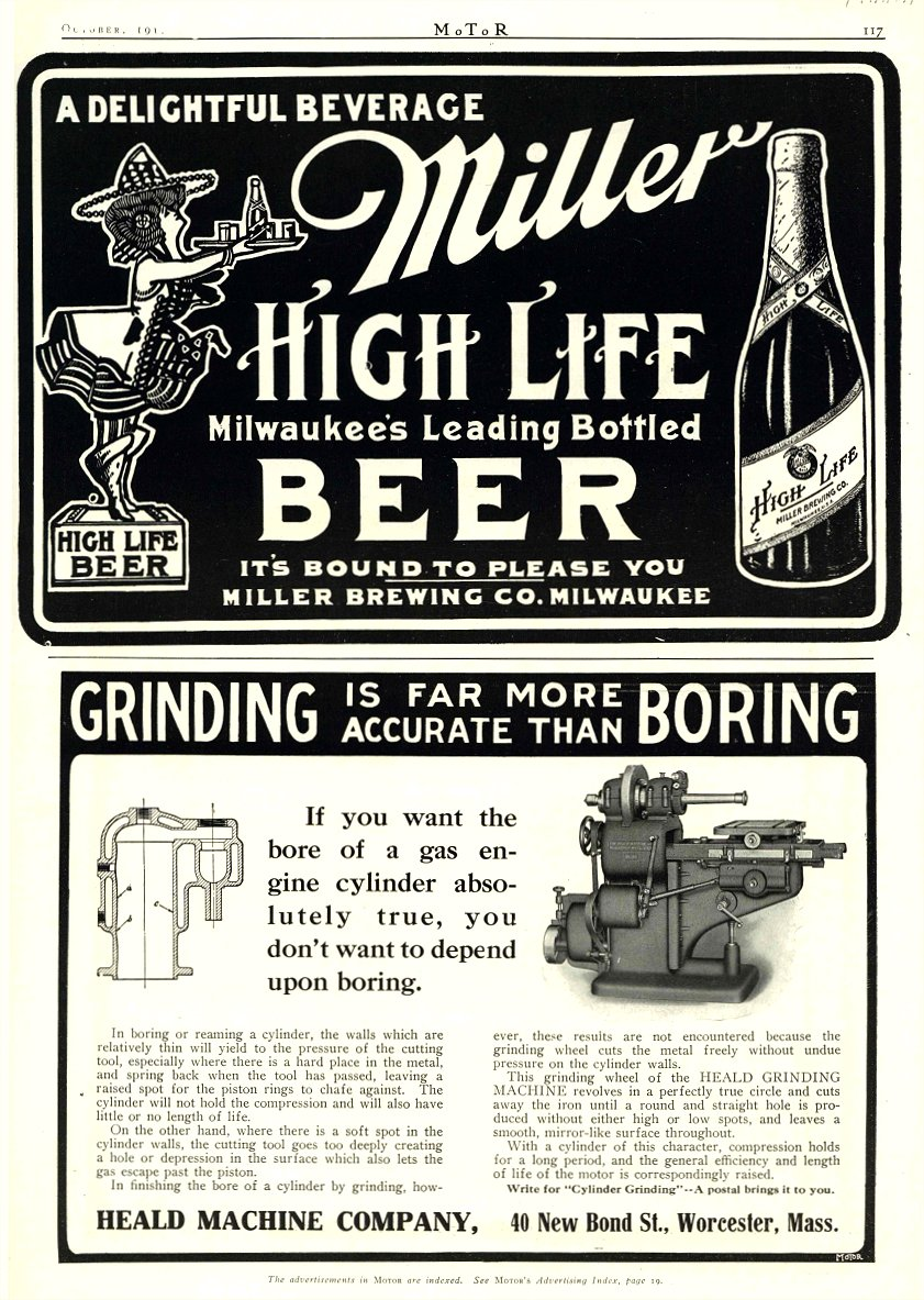 1910 10 Miller HIGH LIFE BEER Motor October 1910 9.75″x14″ page 118