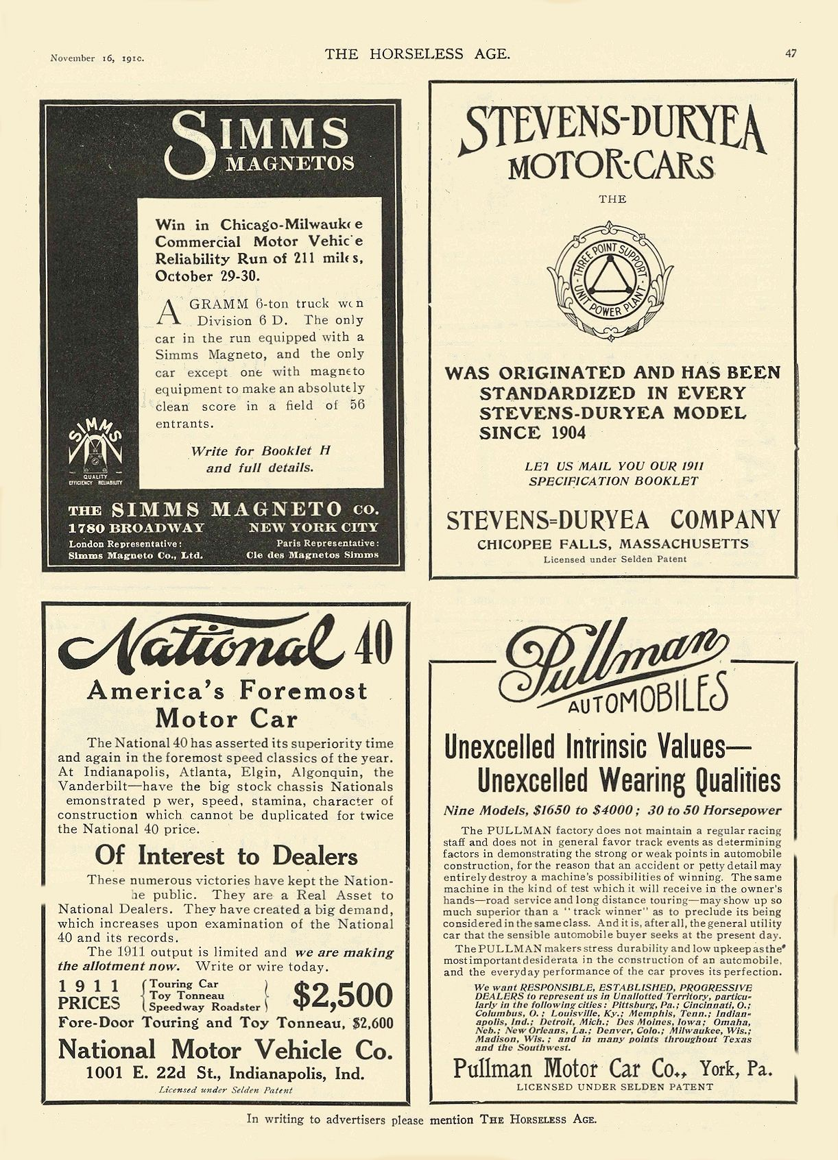 1911 11 16 NATIONAL National 40 America's Foremost Motor Car National Motor Vehicle Co. Indianapolis, IND THE HORSELESS AGE November 16, 1910 8.5″x11.75″ page 47