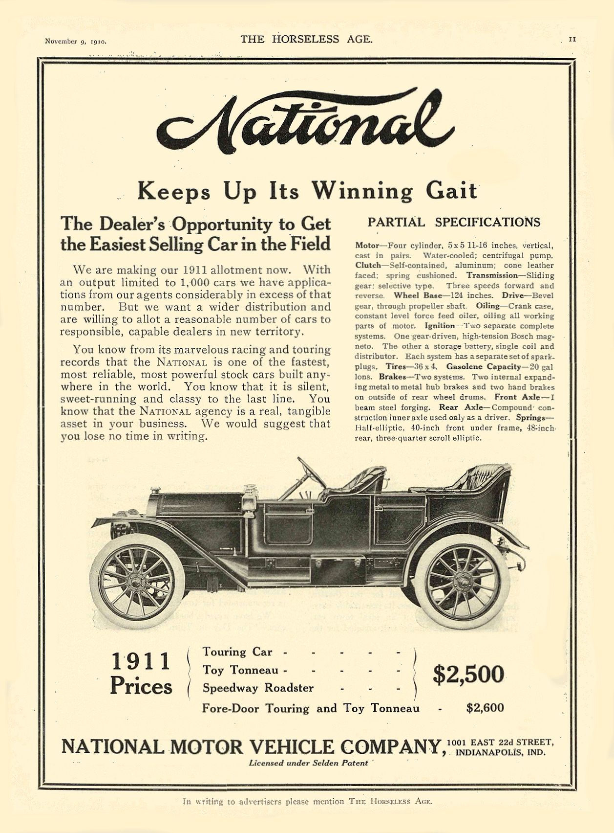 1911 11 9 NATIONAL National Keeps Up Its Winning Gait NATIONAL MOTOR VEHICLE COMPANY Indianapolis, IND THE HORSELESS AGE November 9, 1910 8.5″x11.75″ page 11