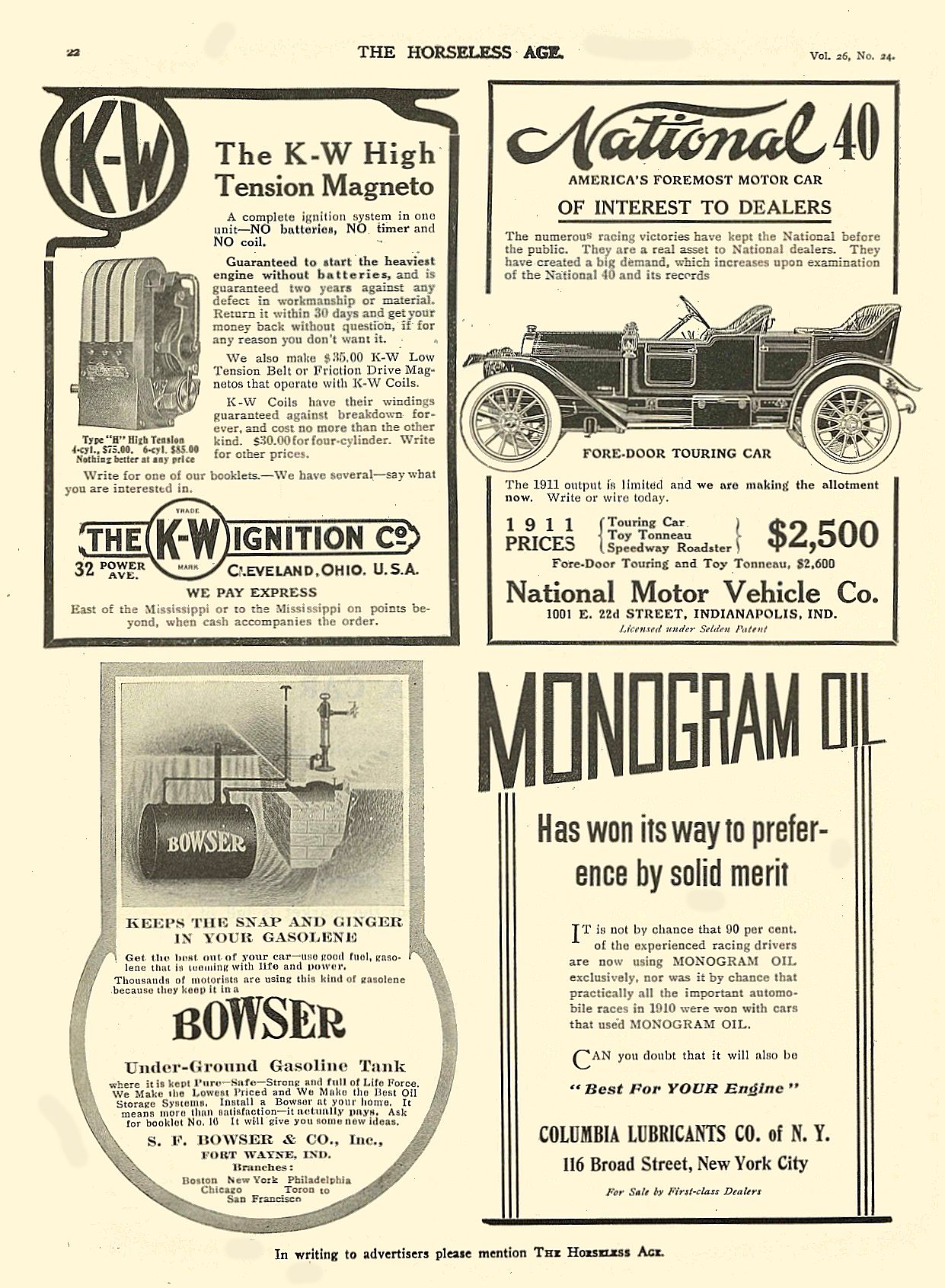 1911 12 14 NATIONAL National 40 America's Foremost Motor Car National Motor Vehicle Co. Indianapolis, IND THE HORSELESS AGE December 14, 1910 8.5″x11.75″ page 22