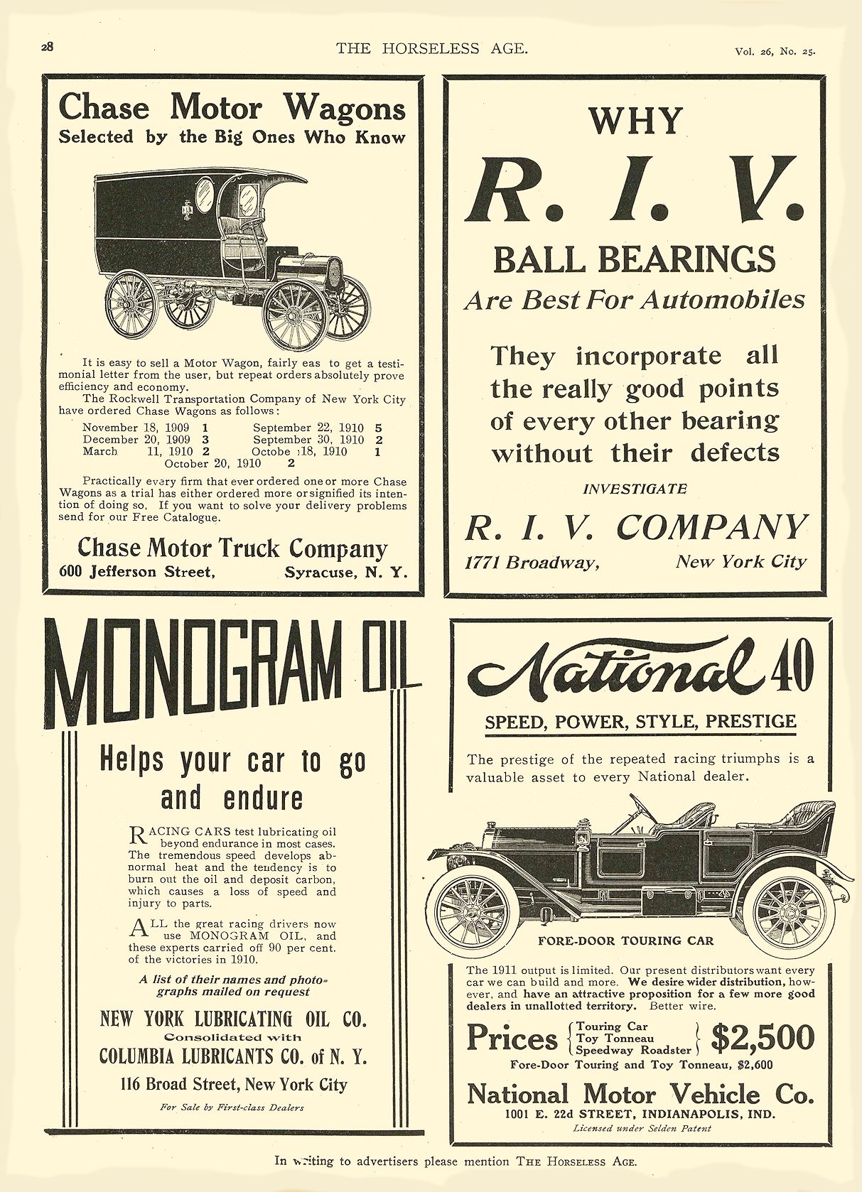 1911 12 21 NATIONAL National 40 SPEED, POWER, STYLE, PRESTIGE National Motor Vehicle Co. Indianapolis, IND THE HORSELESS AGE December 21, 1910 8.25″x11.75″ page 28