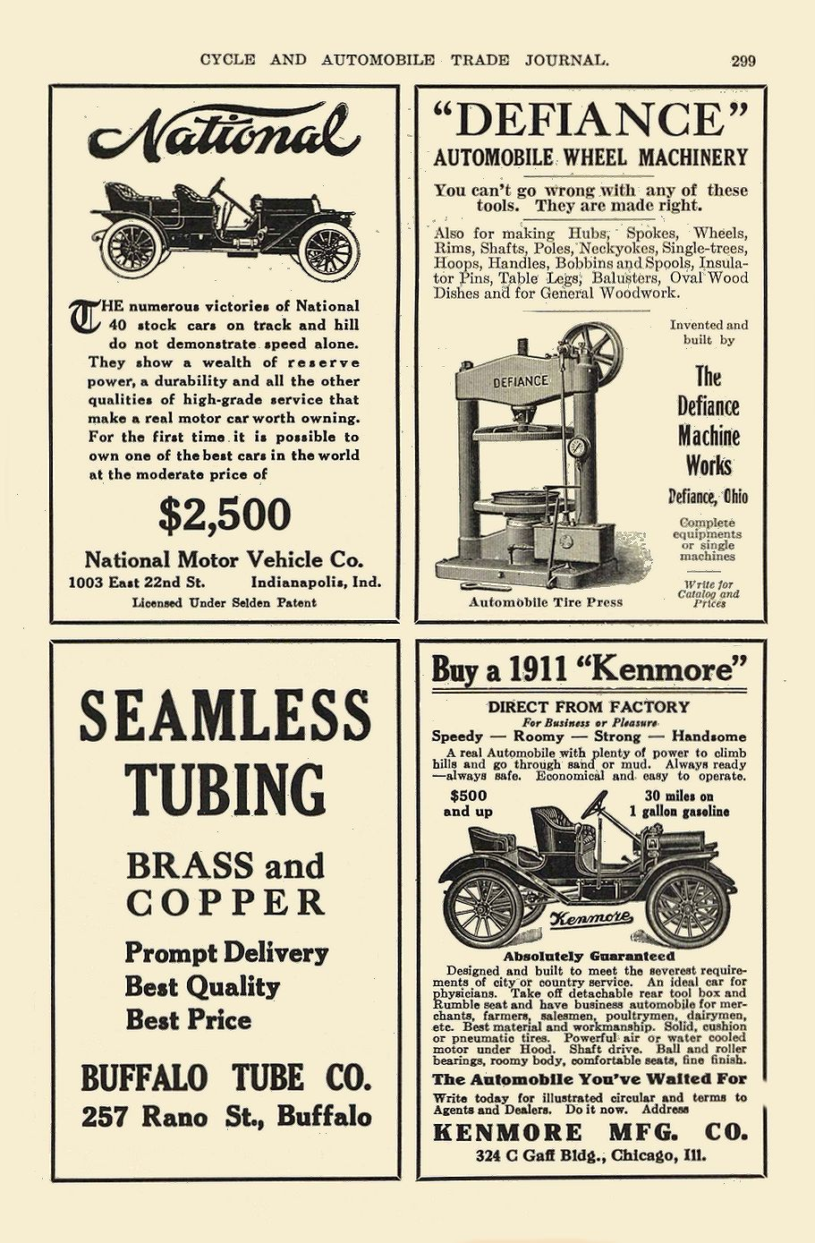 1911 12 NATIONAL National $2,500 National Motor Vehicle Co. Indianapolis, IND CYCLE AND AUTOMOBILE TRADE JOURNAL December 1910 6.5″x10″ page 299