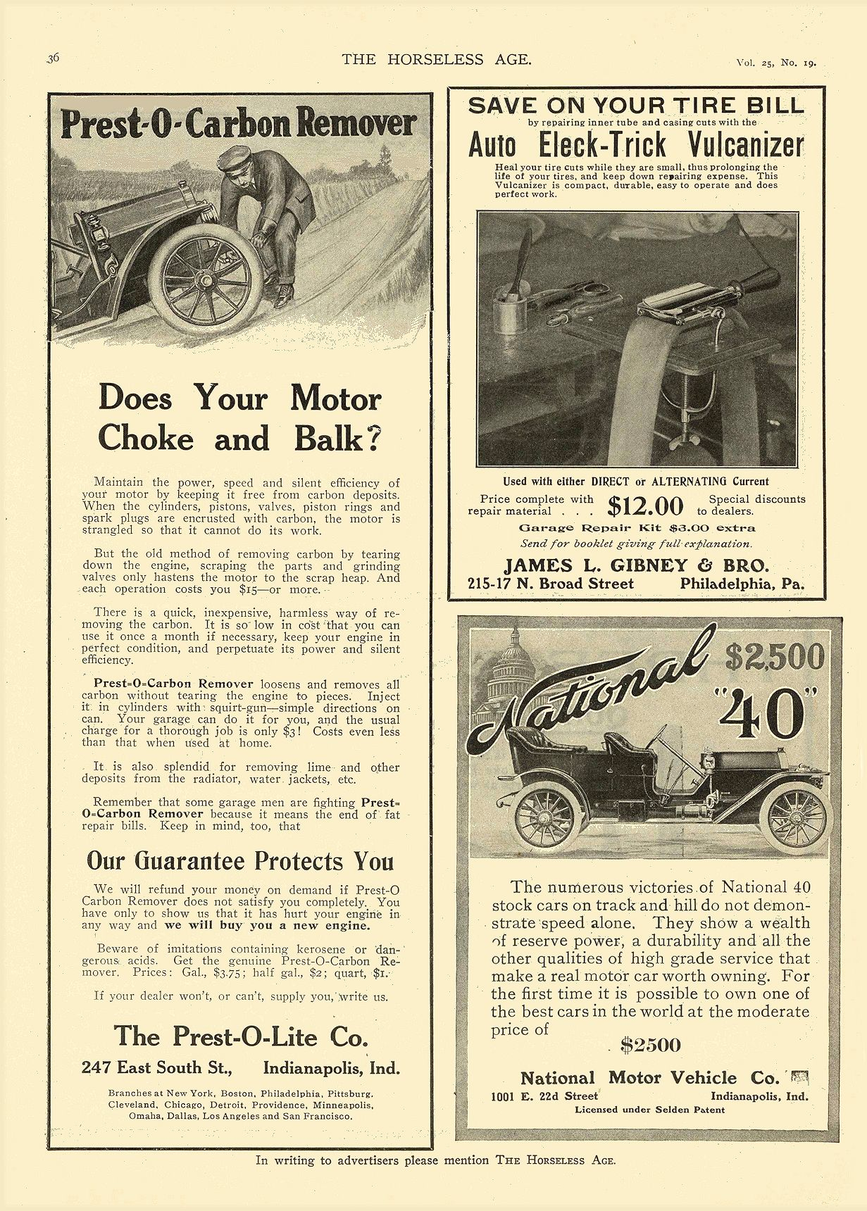 "1910 5 11 NATIONAL National ""40"" $2,500 National Motor Vehicle Co. Indianapolis, IND THE HORSELESS AGE May 11, 1910 8.25″x12″ page 36"