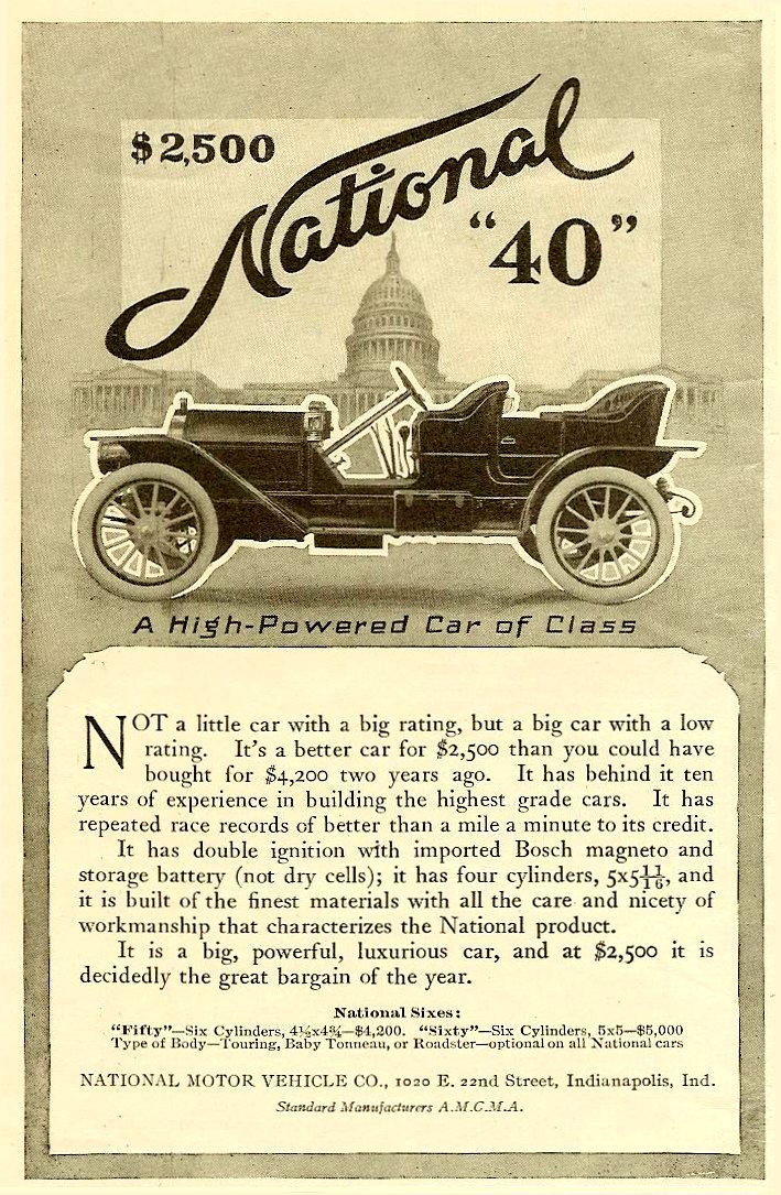 "1910 11 6 NATIONAL National ""40"" A High-Powered Car of Class HARPER'S WEEKLY ADVERTISER magazine November 6, 1909 4.5″x7″ page 30"