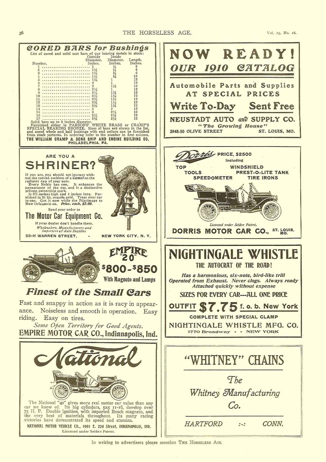 1910 4 20 National THE HORSELESS AGE April 20, 1910 Vol. 25 No. 16 9″x12″ page 36