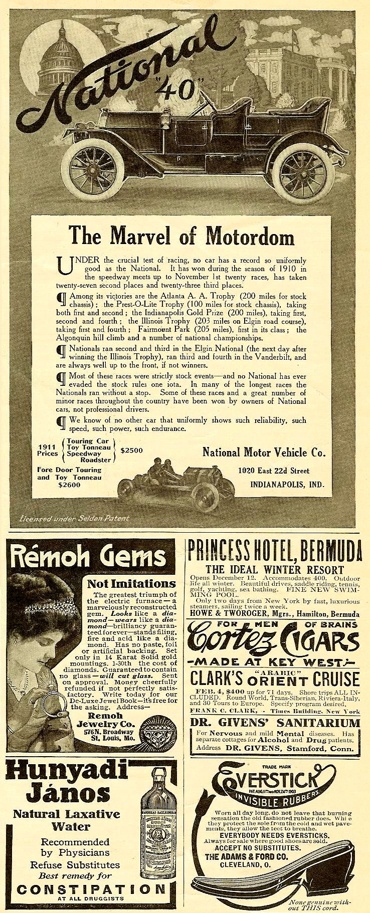 """1911 12 17 National """"40"""" The Marvel of Motordom Harper's Weekly Advertiser magazine December 17, 1910 4.5″x7″ page 23"""