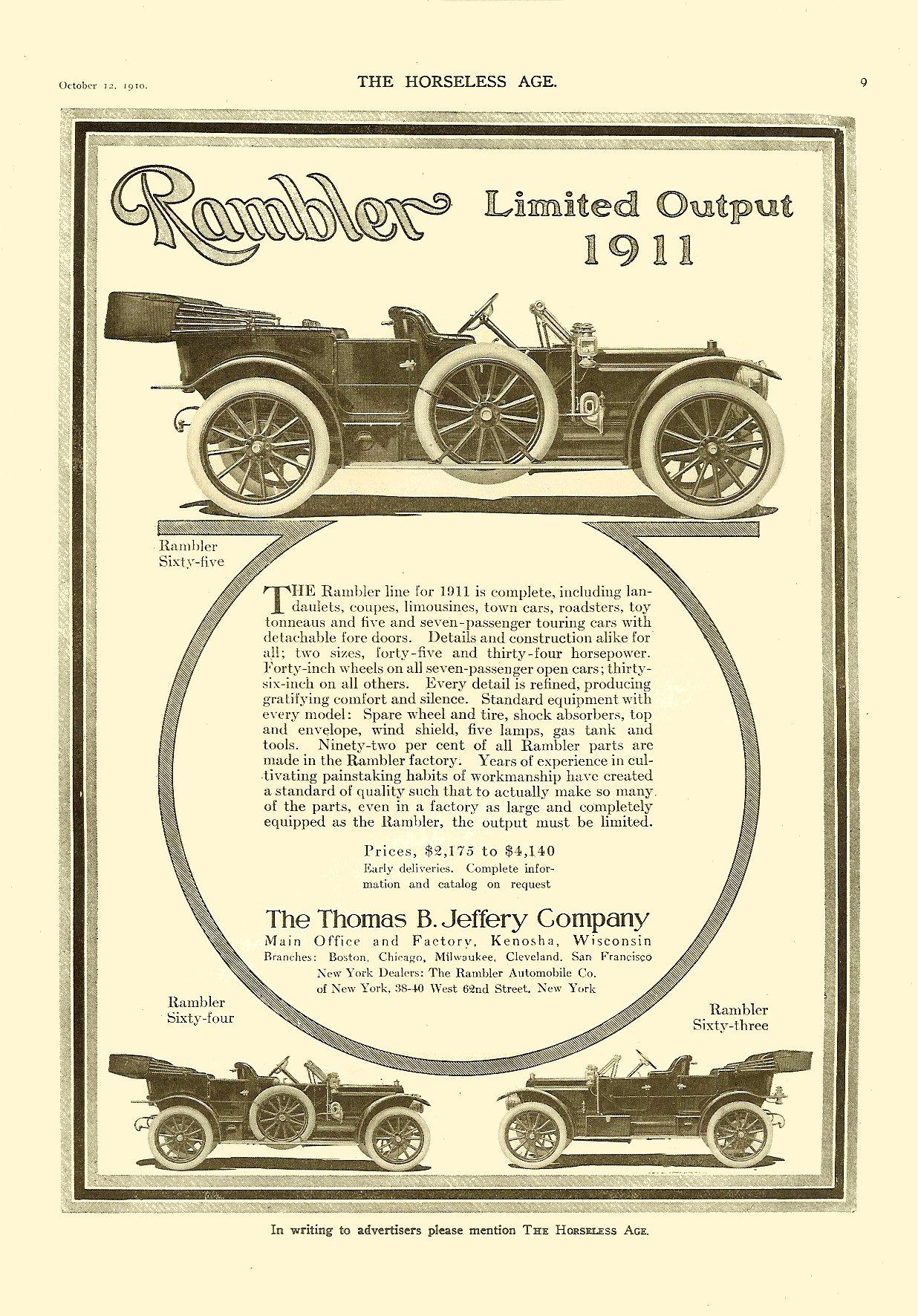 1911 10 12 Rambler – Limited Output The Thomas B. Jeffery Company Kenosha, Wisconsin THE HORSELESS AGE Vol. 26, No. 15 October 12, 1910 9″x12″ page 9