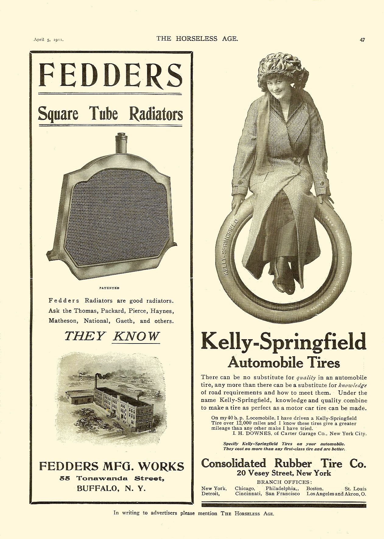1911 4 5 Kelly-Springfield Automobile Tires THE HORSELESS AGE Vol. 27, No. 14 April 5, 1911 9″x12″ page 47