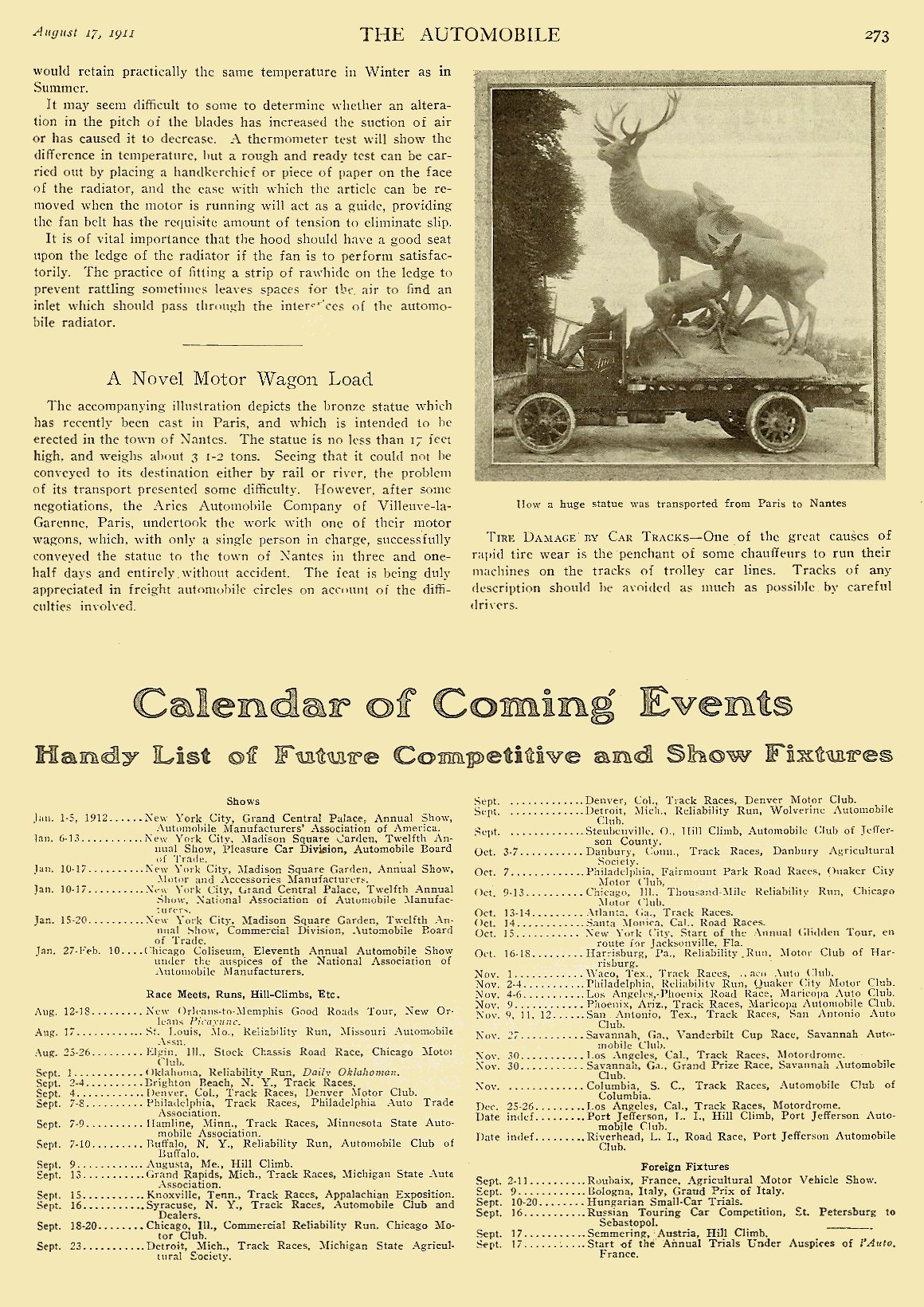 """1911 8 17 """"A Novel Motor Wagon Load"""" THE AUTOMOBILE Vol. 25 No. 7 August 17, 1911 9″x12″ page 273"""
