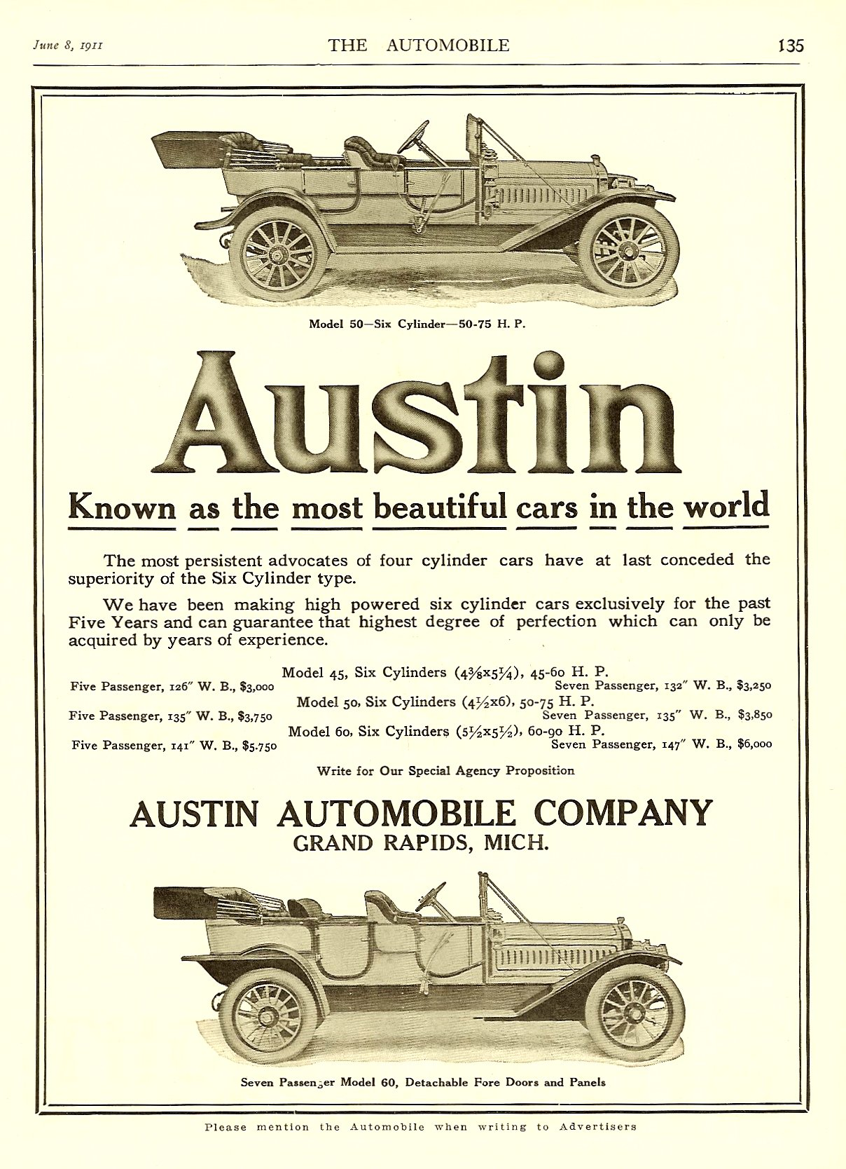 """1911 6 8 THE AUTOMOBILE 1911 Austin """"Known as the most beautiful cars in the world"""" June 8, 1911 8.25″x12″ page 135"""