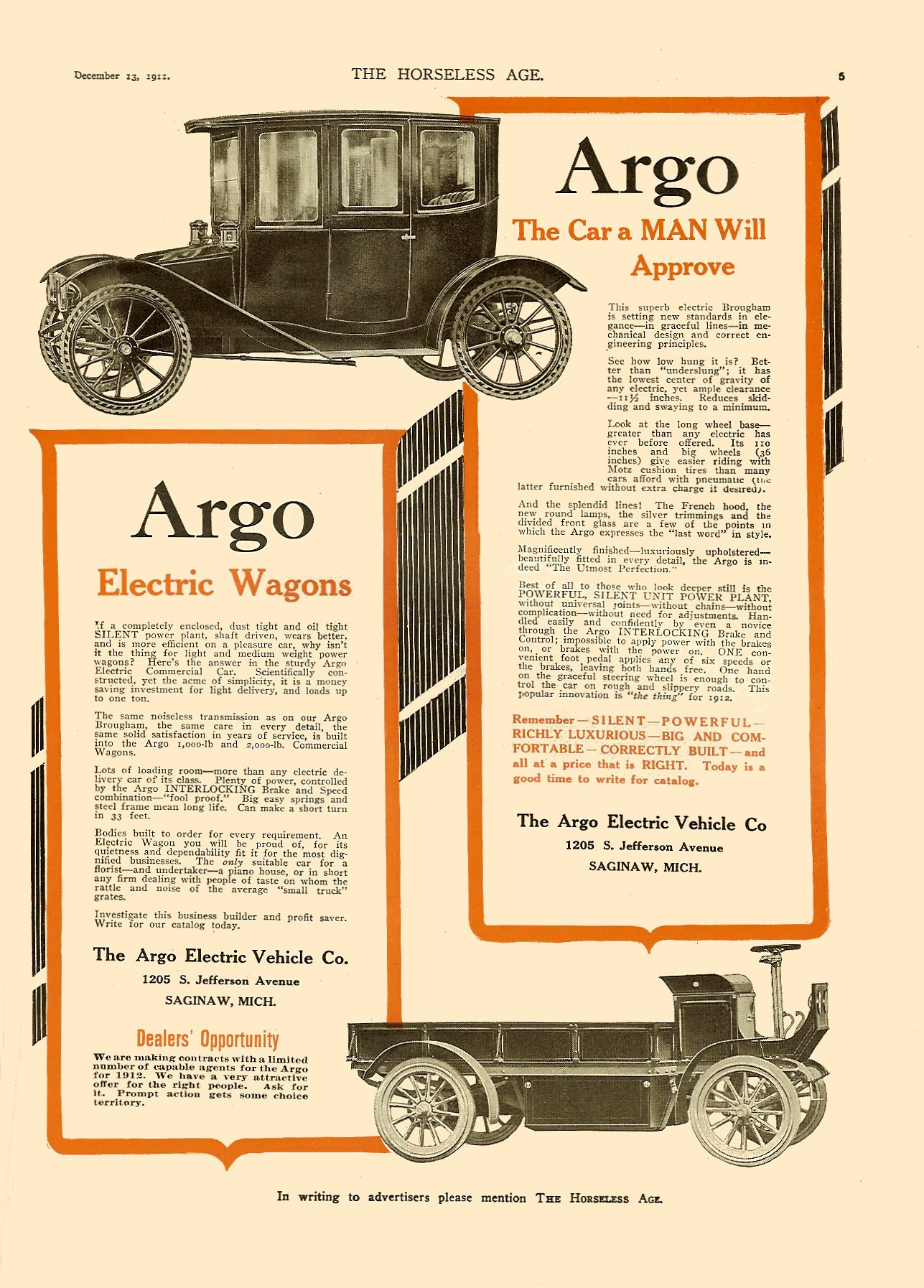 1911 12 13 Argo Electric Wagons The Argo Electric Vehicle Co. Saginaw, MICH THE HORSELESS AGE Vol. 28, No. 24 December 13, 1911 9″x12″ page 5