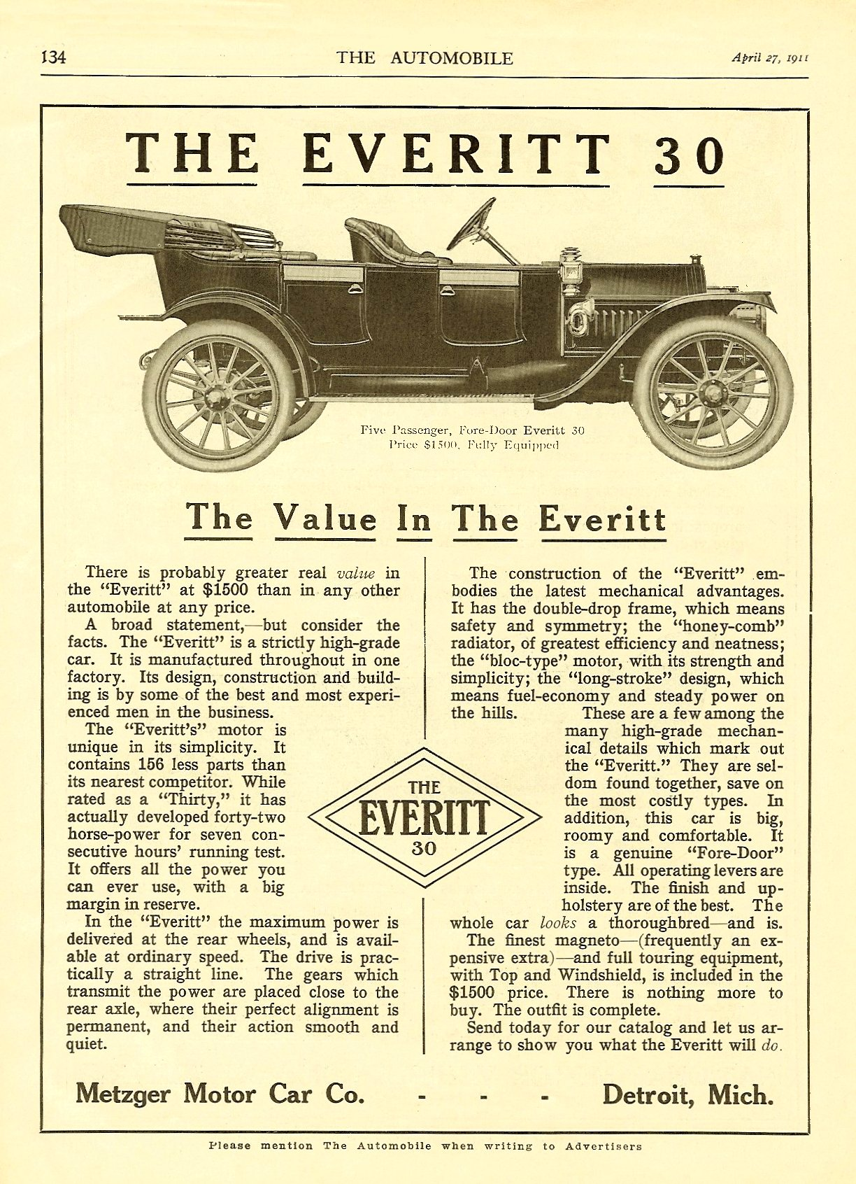 """1911 4 27 THE AUTOMOBILE 1911 THE EVERITT 30 """"The Value In The Everitt"""" April 27, 1911 8.5″x12″ page 134"""