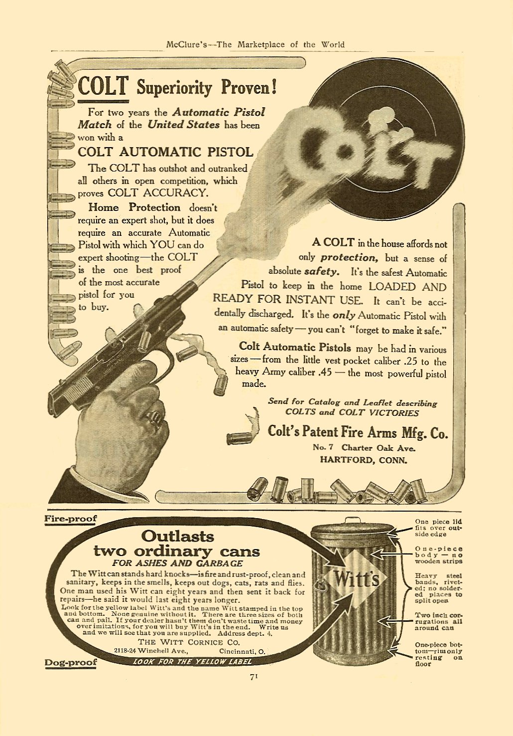 1911 1 COLT Colt's Patent Fire Arms Mfg. Co. Hartford, CONN January 1911 McClure's – The Marketplace of the World 6.75″x9.75″, AD = 5.5″x6″ page 71