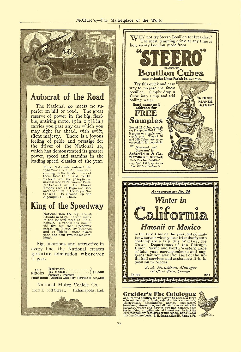 1911 1 40 Autocrat of the Road January 1911 McClure's – The Marketplace of the World 6.75″x9.75″, AD = 2.75″x8″ page 72
