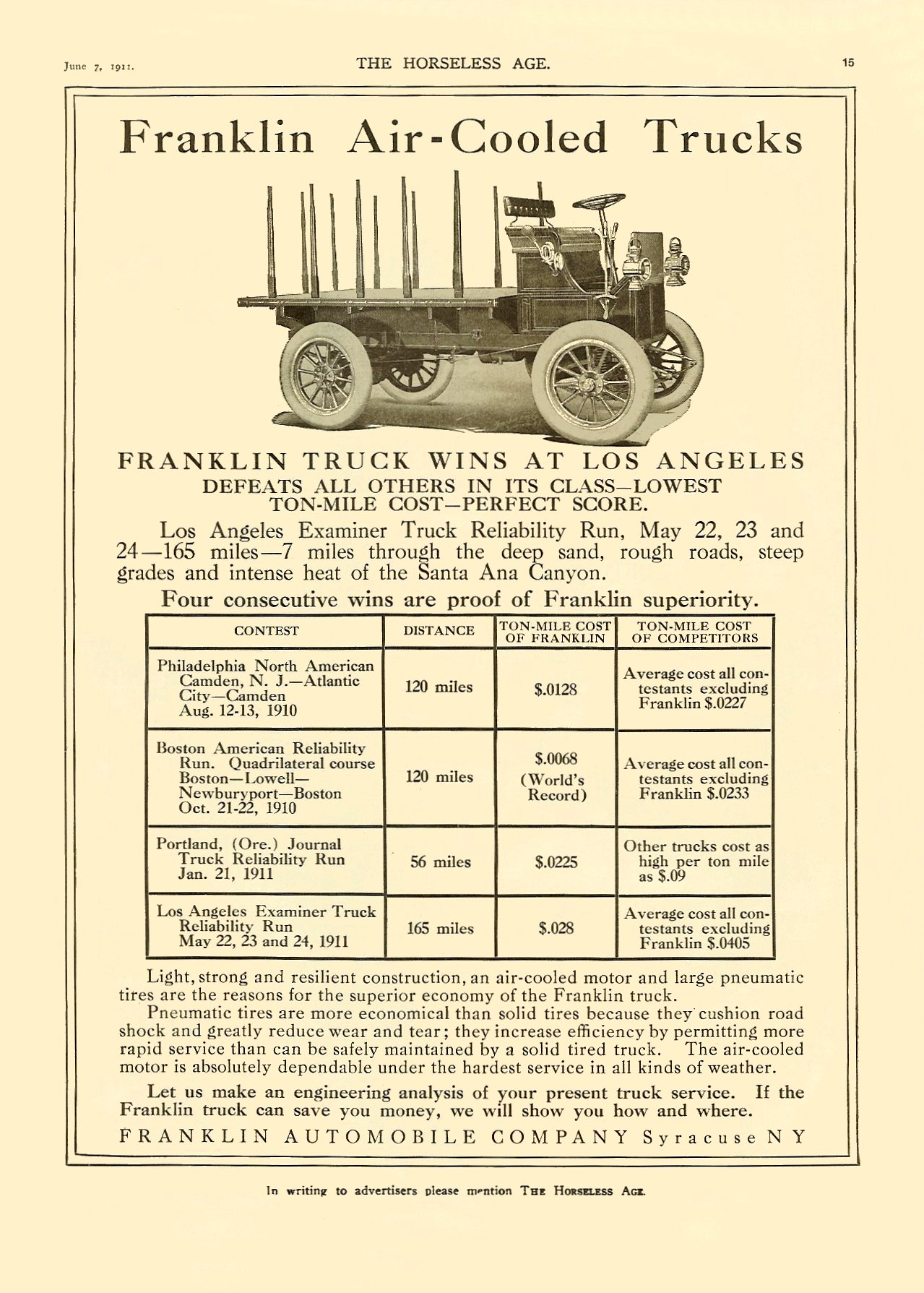 1911 6 7 Franklin Air-Cooled Trucks Franklin Automobile Company Syracuse, New York THE HORSELESS AGE June 7, 1911 Vol. 27 No. 23 9″x12″ page 15