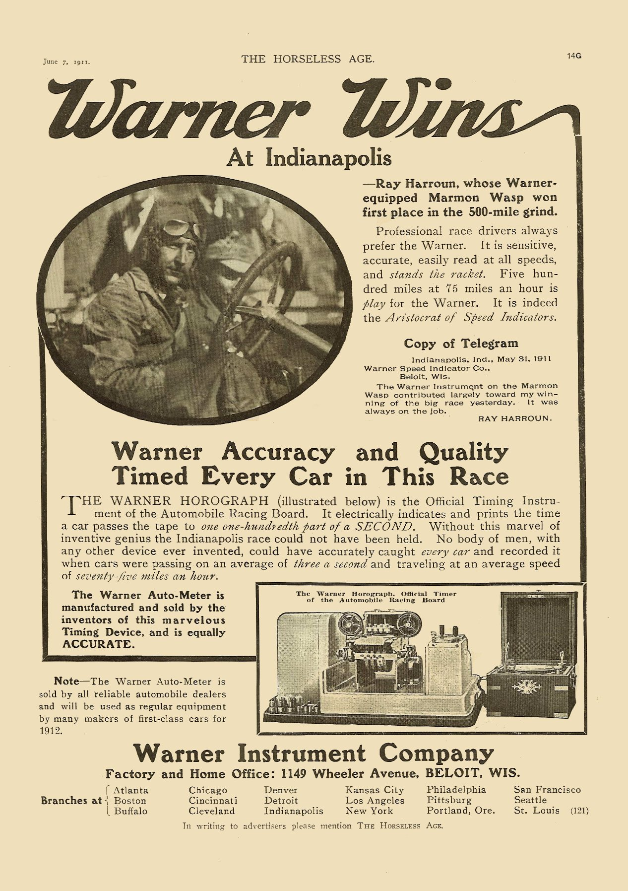 """1911 6 7 Warner Instrument Company Beloit, Wisconsin """"WARNER WINS At Indianapolis"""" THE HORSELESS AGE June 7, 1911 Vol. 27 No. 23 9″x12″ page 14G"""