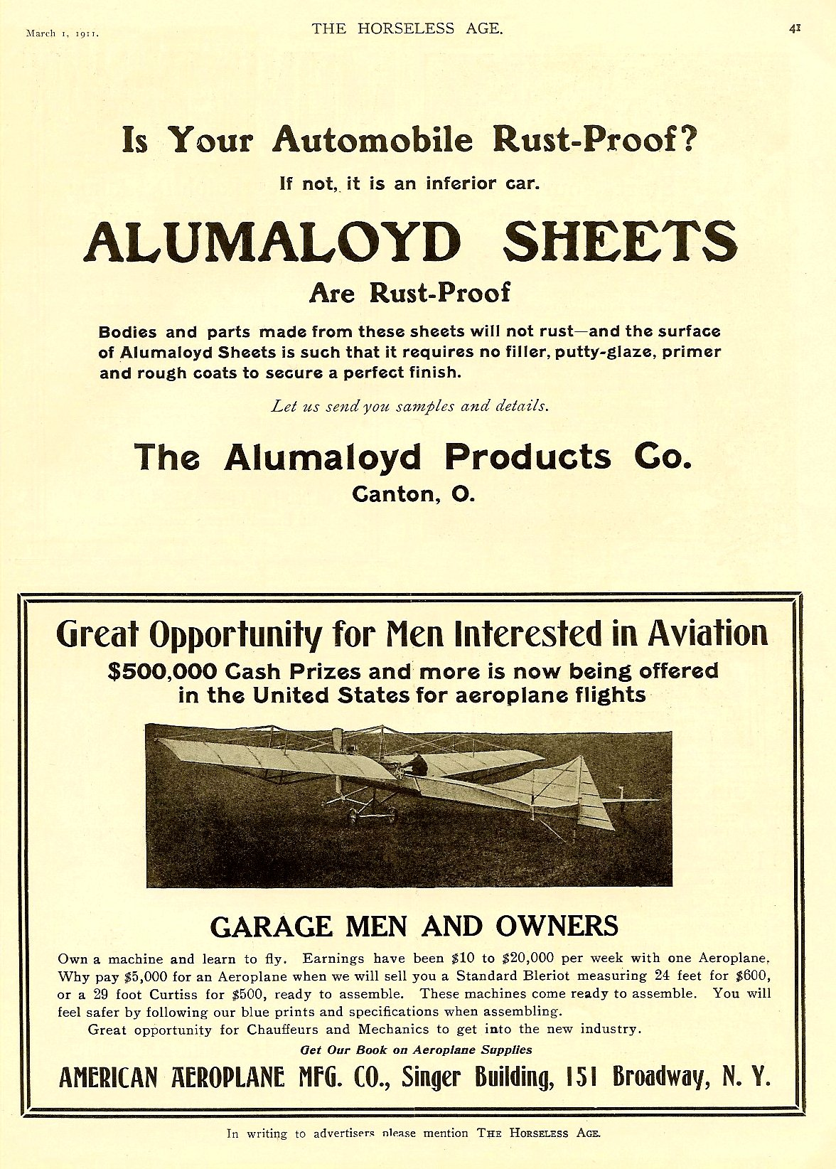 """1911 3 1 March 1 """"Men Interested in Aviation"""" THE HORSELESS AGE March 1, 1911 Vol 27 No 9 9″x12″ page 41"""