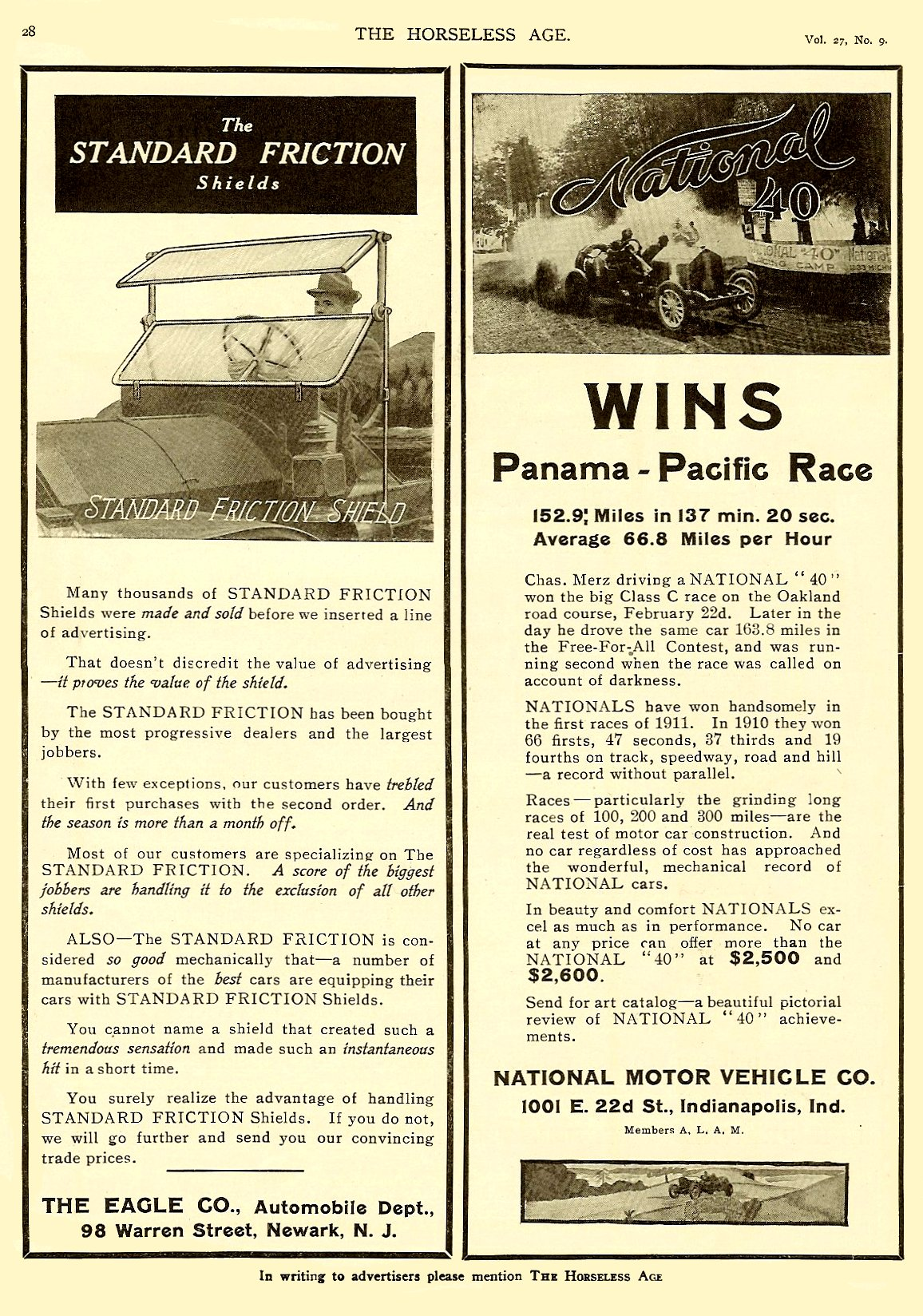 1911 3 1 NATIONAL March 1 National WINS Panama-Pacific Race THE HORSELESS AGE March 1, 1911 Vol. 27 No. 9 9″x12″ page 28