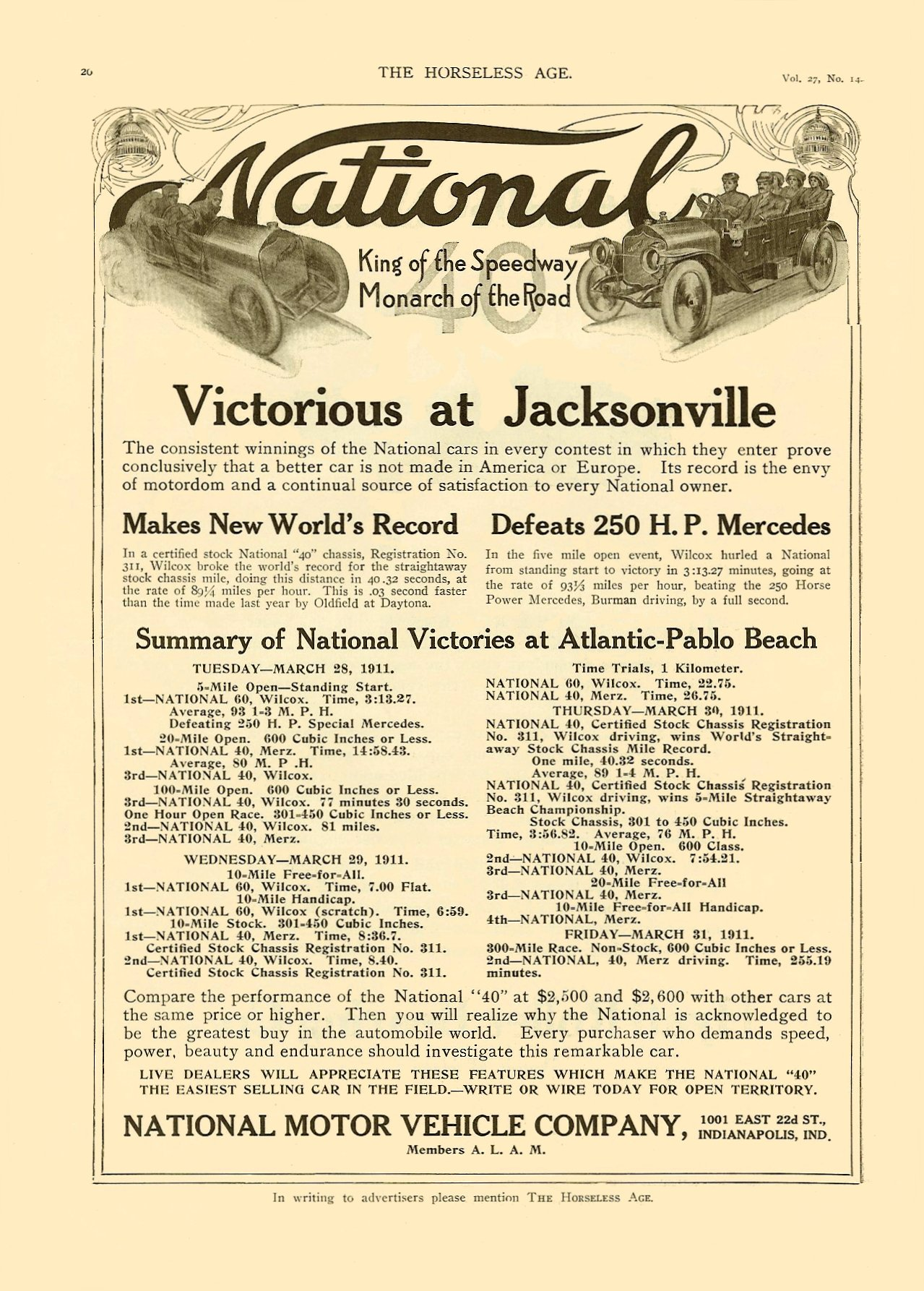 """1911 4 3 NATIONAL National """"Victorious at Jacksonville"""" The Horseless Age Vol. 27 No. 14 April 3, 1911 8.5″x12″ page 20"""