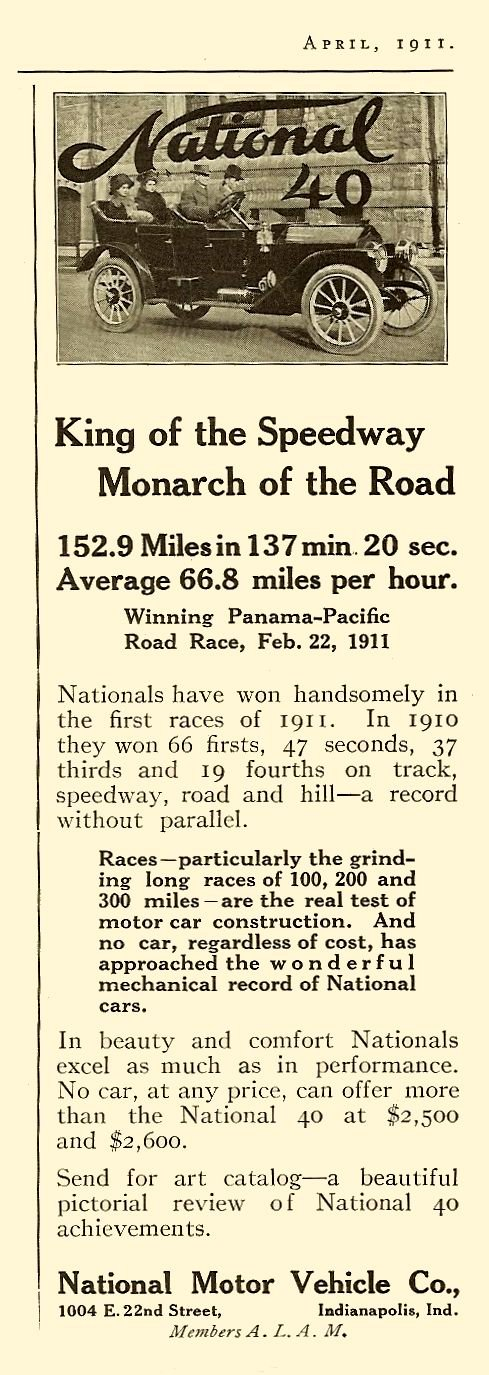 """1911 4 NATIONAL National 40 """"King of the Speedway"""" """"Monarch of the Road"""" April 1911 3″x9.5″"""