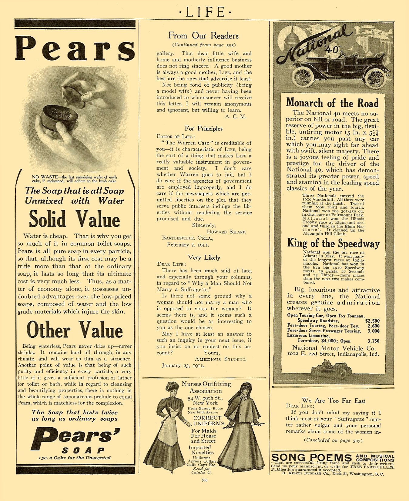 """1911 3 9 NATIONAL National """"40"""" """"Monarch of the Road"""" LIFE magazine March 9, 1911 9″x11″ page 506"""