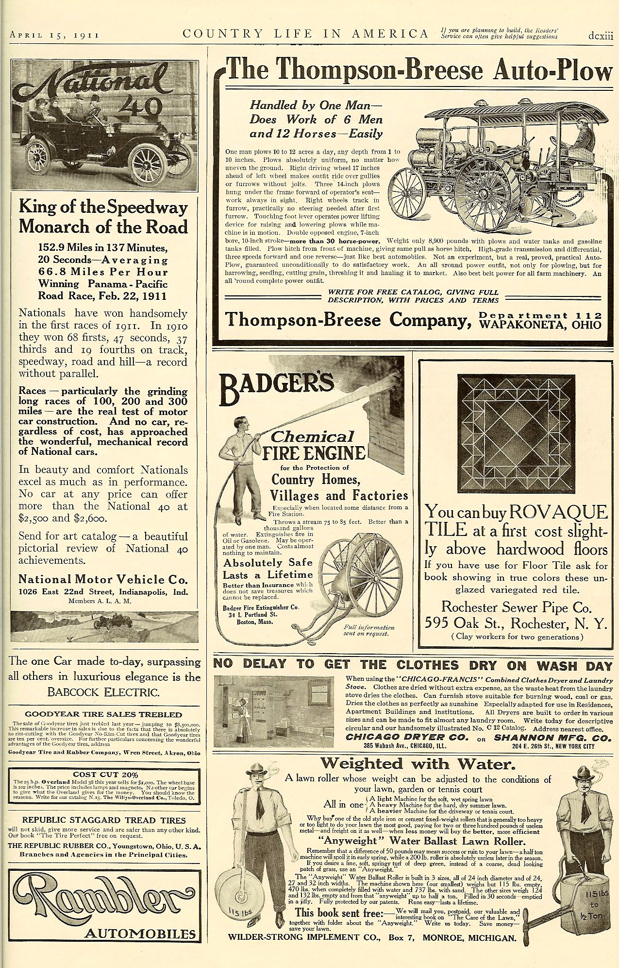 """1911 4 15 NATIONAL National """"King of the Speedway"""" """"Monarch of the Road"""" Country Life in America April 15, 1911 dexiii 10″x14.25″"""