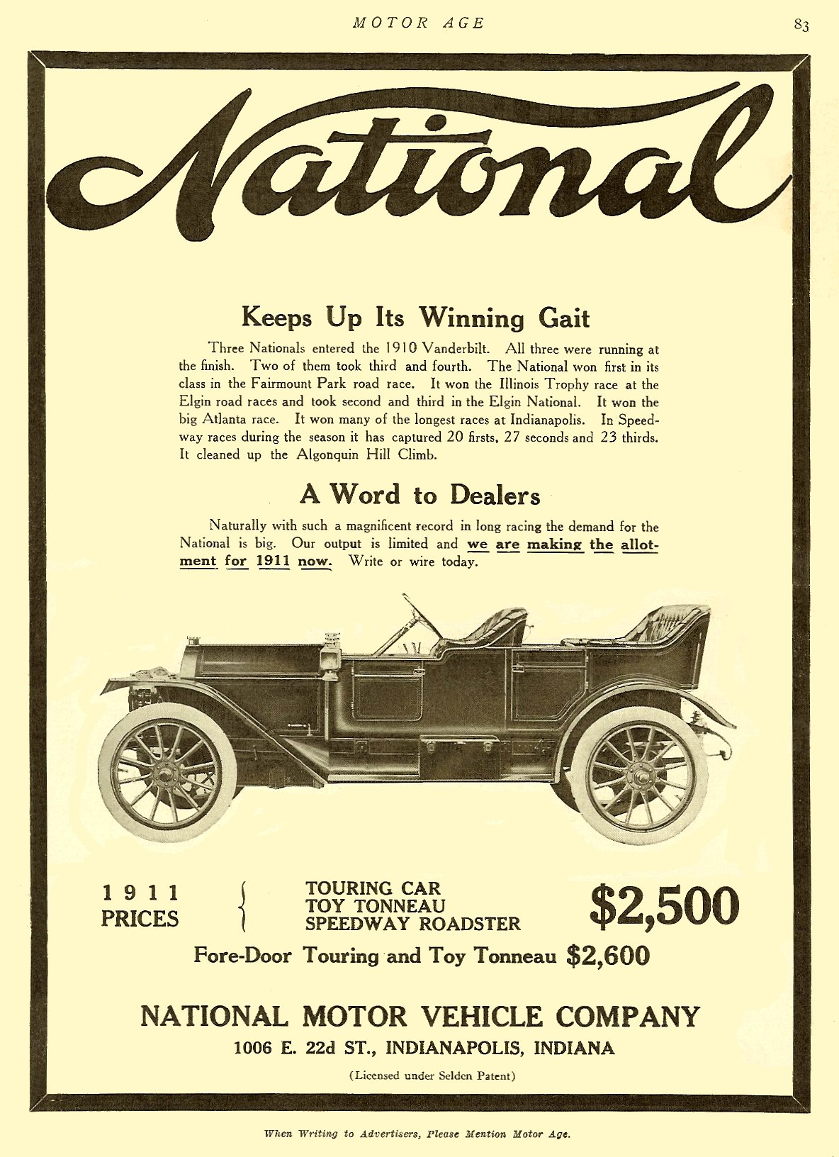 """1911 10 NATIONAL National """"Keeps Up Its Winning Gait"""" MOTOR AGE Oct 1910 8.25″x11″ page 83"""