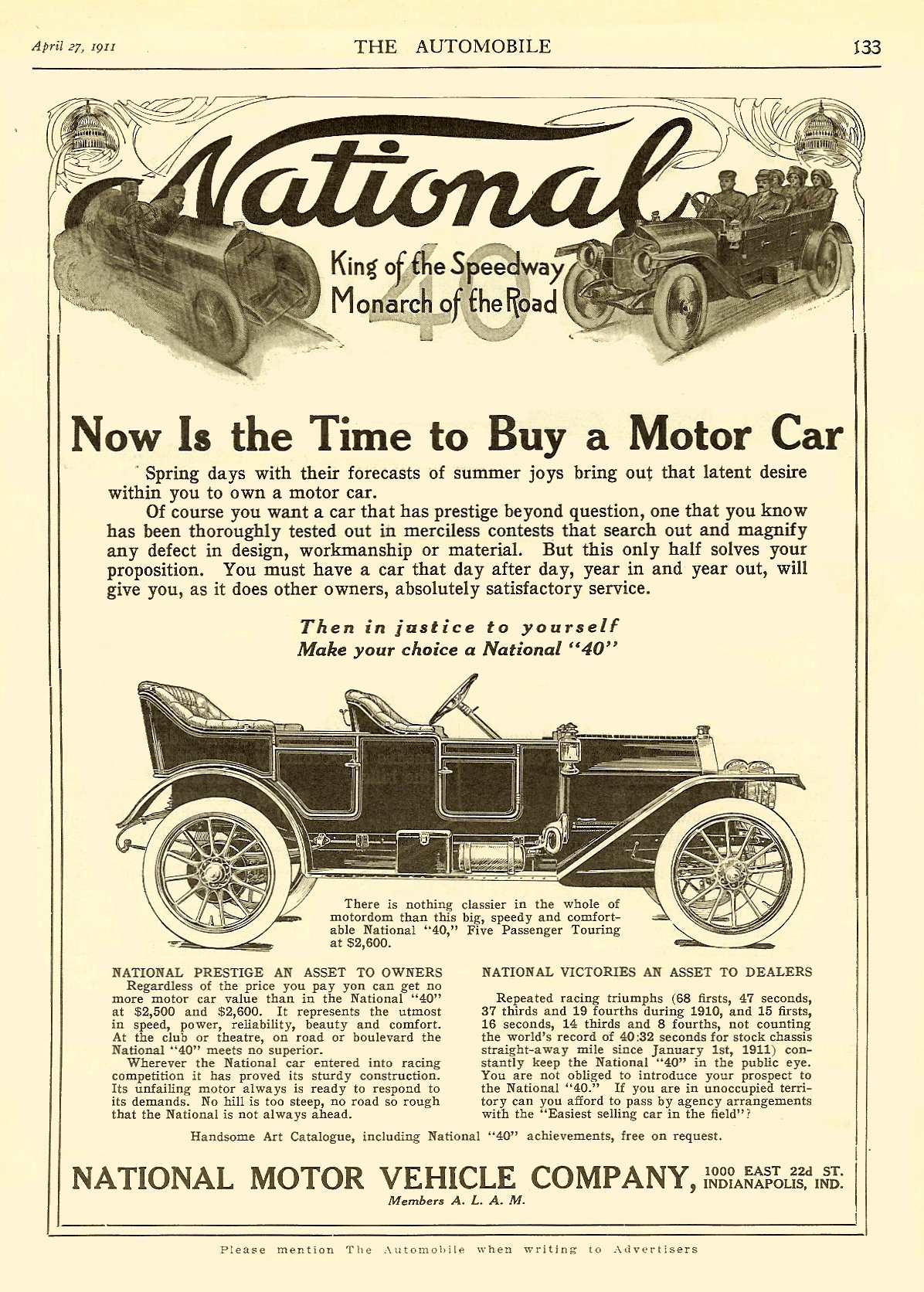 """1911 4 27 NATIONAL National """"Now Is the Time to Buy a Motor Car"""" THE AUTOM OBILE April 27, 1911 8.5″x12″ page 133"""