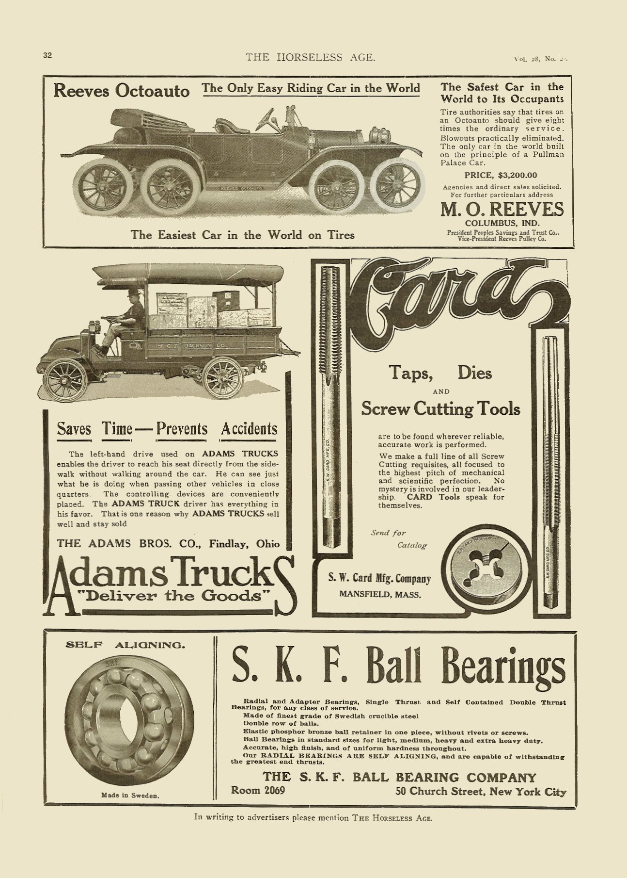 1911 11 29 REEVES Octoauto $3,200 M. O. Reeves Columbus, Ohio THE HORSELESS AGE Vol. 28, No. 22 November 29, 1911 9″x12″ page 32