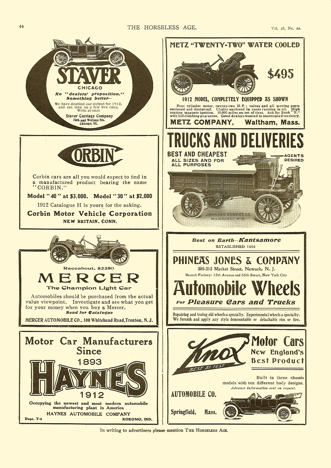 1911 11 29 cars and trucks THE HORSELESS AGE Vol. 28, No. 22 November 29, 1911 9″x12″ page 44