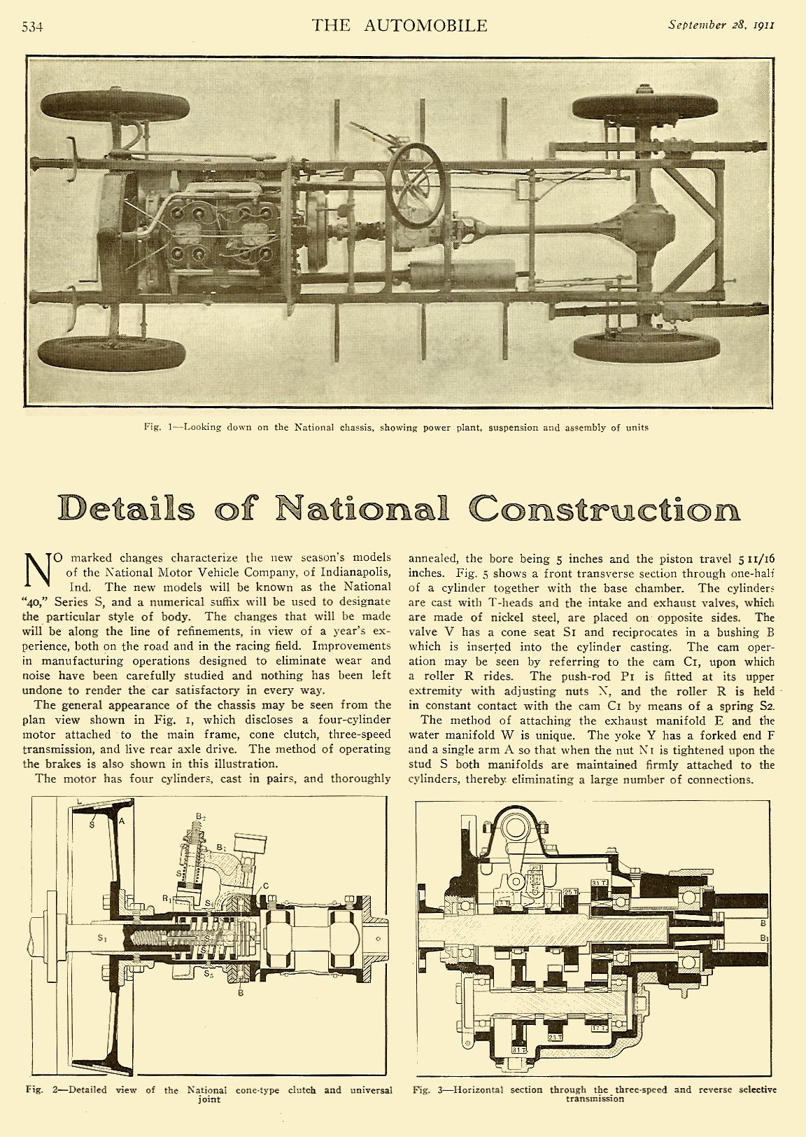 """1911 9 28 National """"Details of National Construction"""" THE AUTOMOBILE Vol. 25 No. 13 September 28, 1911 9″x12″ page 534"""