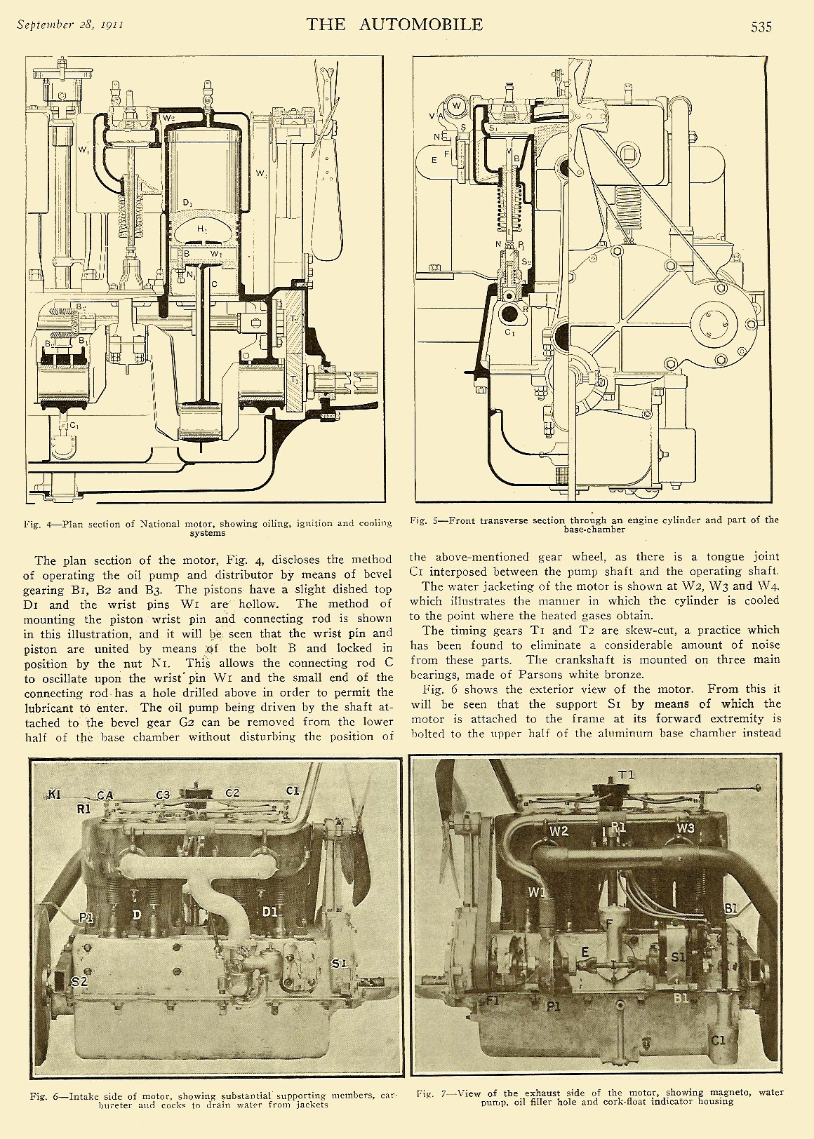 """1911 9 28 National """"Details of National Construction"""" THE AUTOMOBILE Vol. 25 No. 13 September 28, 1911 9″x12″ page 535"""