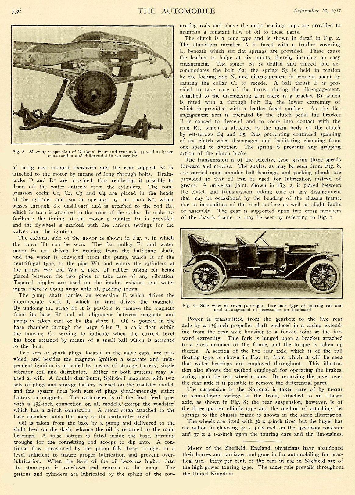 """1911 9 28 National """"Details of National Construction"""" THE AUTOMOBILE Vol. 25 No. 13 September 28, 1911 9″x12″ page 536"""