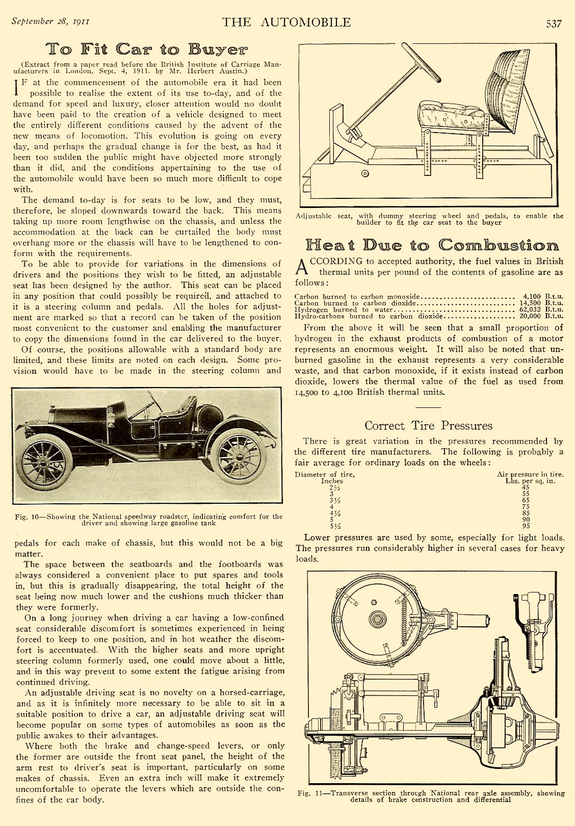 """1911 9 28 NATIONAL National """"Details of National Construction"""" THE AUTOMOBILE Vol. 25 No. 13 September 28, 1911 9″x12″ page 537"""