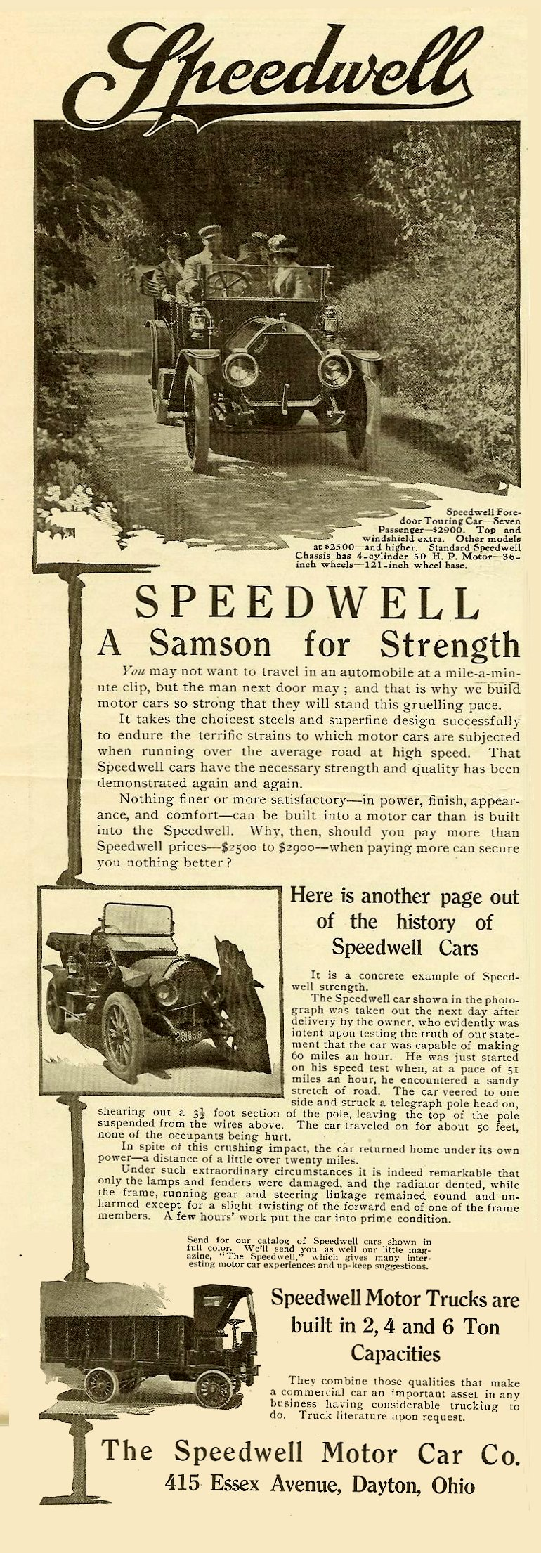 1911 5 6 Speedwell A Samson for Strength Harper's Weekly Advertiser magazine May 6, 1911 5″x14″ page 28