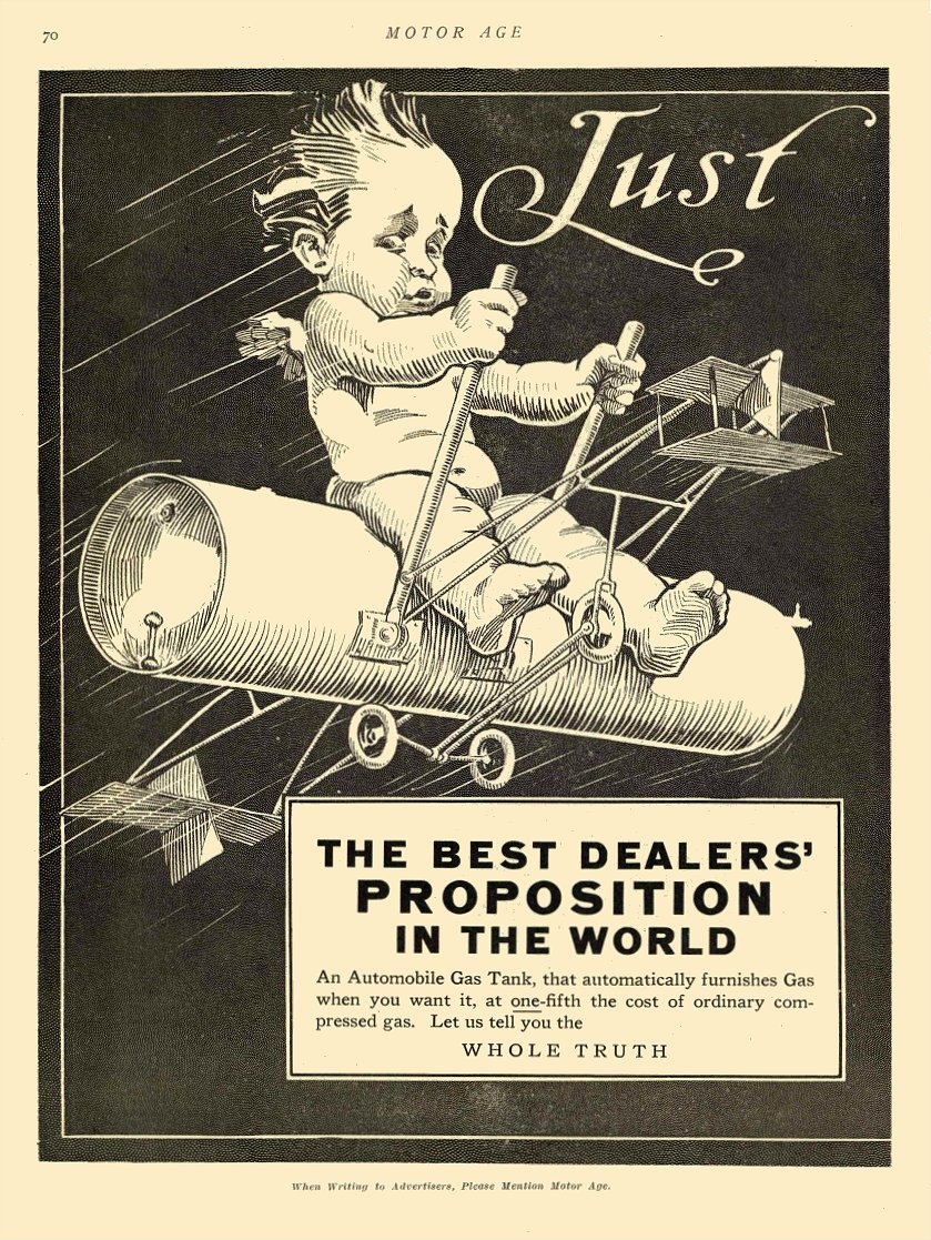 1911 4 27 Gas Tank Advertisement Baby flying a gas tank WHOLE TRUTH MOTOR AGE April 27, 1911 8.5″x12″ page 70