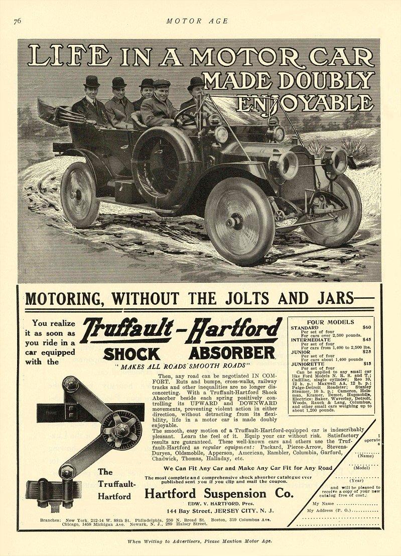 1911 3 2 TRUFFAULT-HARTFORD Shock Absorber Hartford Suspension Co Jersey City, N.J. MOTOR AGE March 2, 1911 8.5″x11.75″ page 76