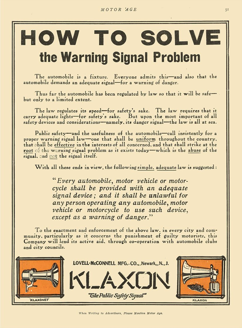 """1911 8 24 KLAXON Horns HOW TO SOLVE """"The Public Safety Signal"""" Lovell-McConnell Mfg Company Newark, New Jersey MOTOR AGE Aug 24, 1911 8.5″x12″ page 51"""