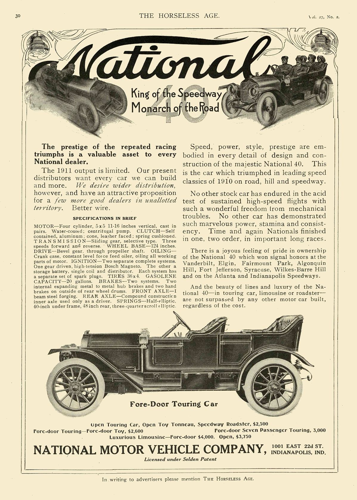 1911 1 11 NATIONAL Monarch of the Road King of the Speedway NATIONAL MOTOR VEHICLE COMPANY Indianapolis, IND THE HORSELESS AGE January 11, 1911 8.25″x12″ page 30