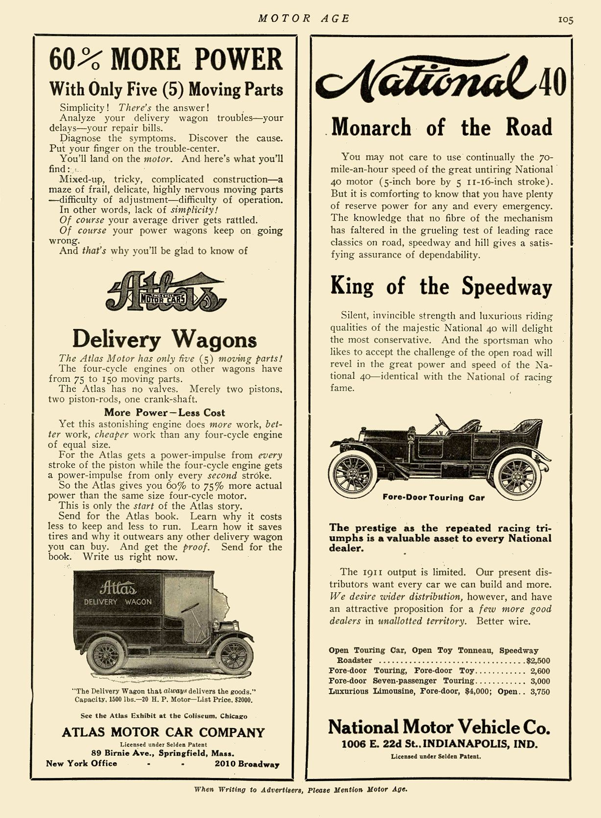 1911 1 19 NATIONAL Monarch of the Road King of the Speedway National Motor Vehicle Co. Indianapolis, IND MOTOR AGE January 19, 1911 8.25″x12″ page 105