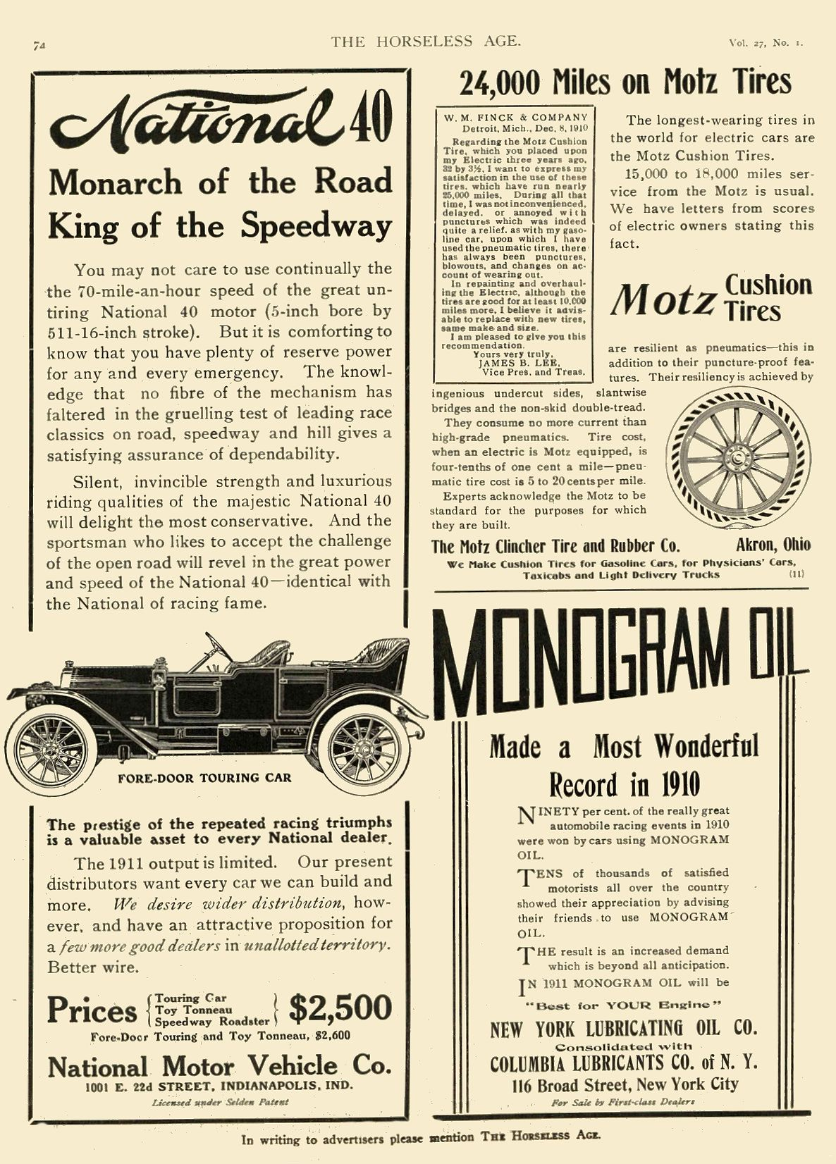 1911 1 4 NATIONAL Monarch of the Road King of the Speedway National Motor Vehicle Co. Indianapolis, IND THE HORSELESS AGE January 4, 1911 8″x11″ page 74