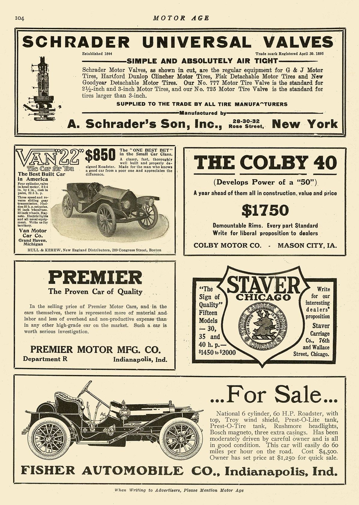 1911 2 23 ca. 1910 NATIONAL …For Sale… 6 cylinder, 60 H.P. Roadster w/ top FISHER AUTOMOBILE CO. Indianapolis, IND MOTOR AGE February 23, 1911 8.25″x11.75″ page 104
