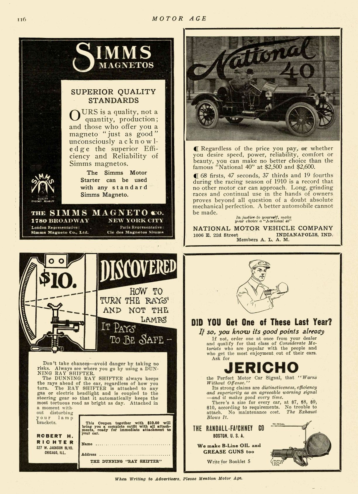 1911 3 16 NATIONAL National 40 NATIONAL MOTOR VEHICLE COMPANY Indianapolis, IND MOTOR AGE March 16, 1911 8.5″x11.75″ page 116