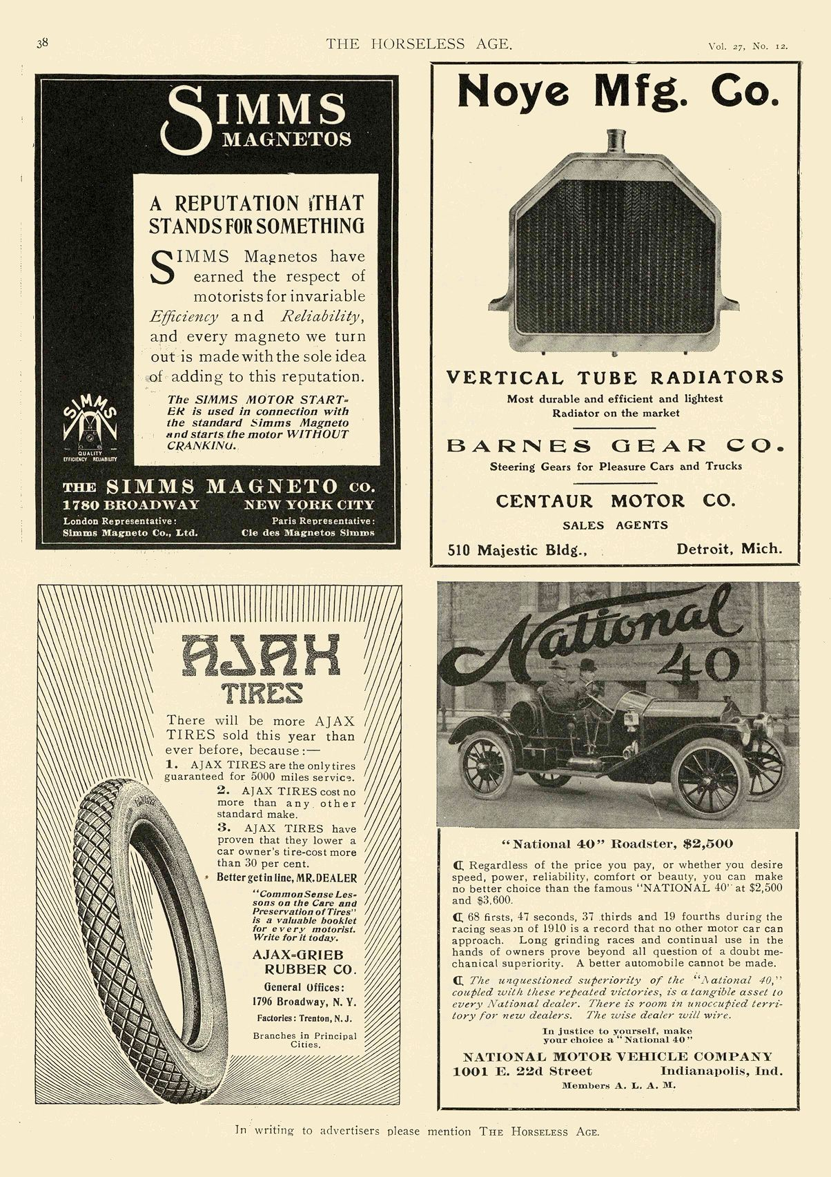 """1911 3 22 NATIONAL """"National 40″ Roadster, $2,500 NATIONAL MOTOR VEHICLE COMPANY Indianapolis, IND THE HORSELESS AGE March 22, 1911 8.25″x12"""" page 38"""