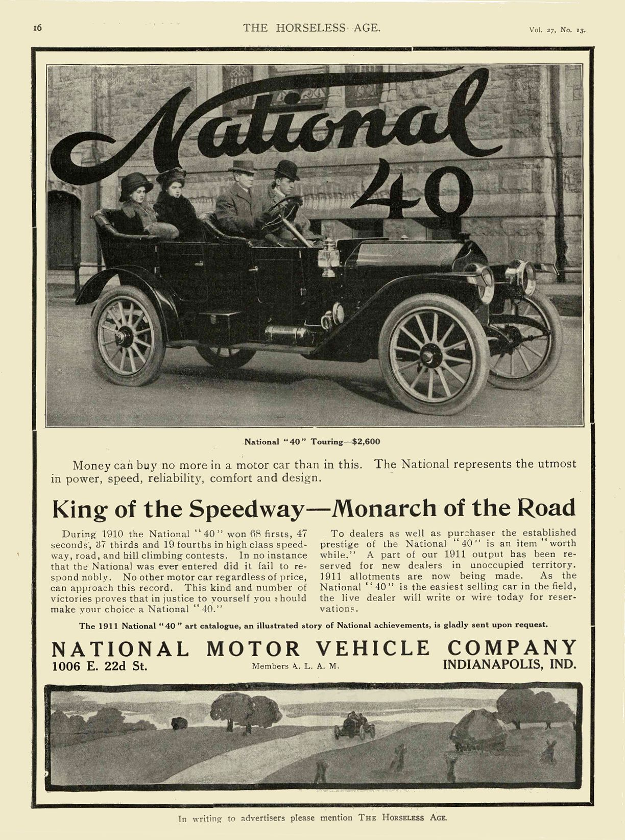 1911 3 29 NATIONAL King of the Speedway Monarch of the Road NATIONAL MOTOR VEHICLE COMPANY Indianapolis, IND THE HORSELESS AGE March 29, 1911 8.25″x11″ page 16