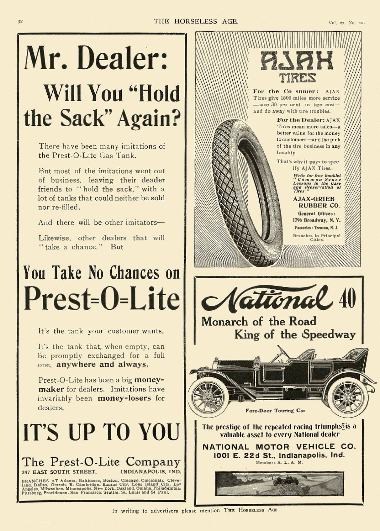 1911 3 8 NATIONAL 40 Monarch of the Road King of the Speedway NATIONAL MOTOR VEHICLE CO. Indianapolis, IND THE HORSELESS AGE March 8, 1911 8.5″x12″ page 32