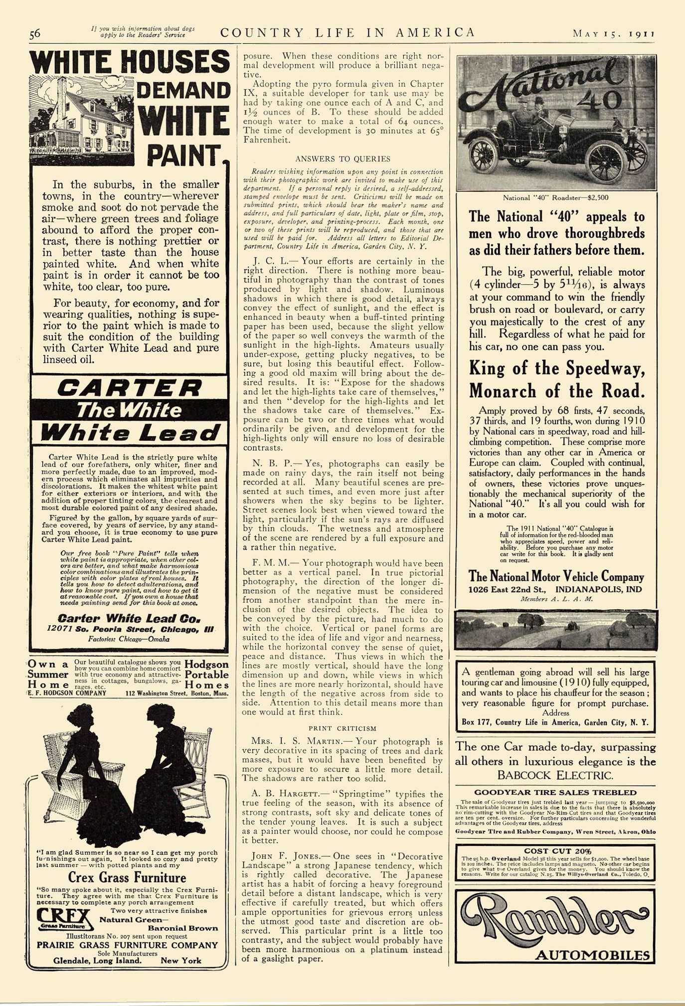 1911 5 15 NATIONAL National 40 King of the Speedway, Monarch of the Road. The National Motor Vehicle Company Indianapolis, IND Country Life In America May 15, 1911 9.5″x13.5″ page 56