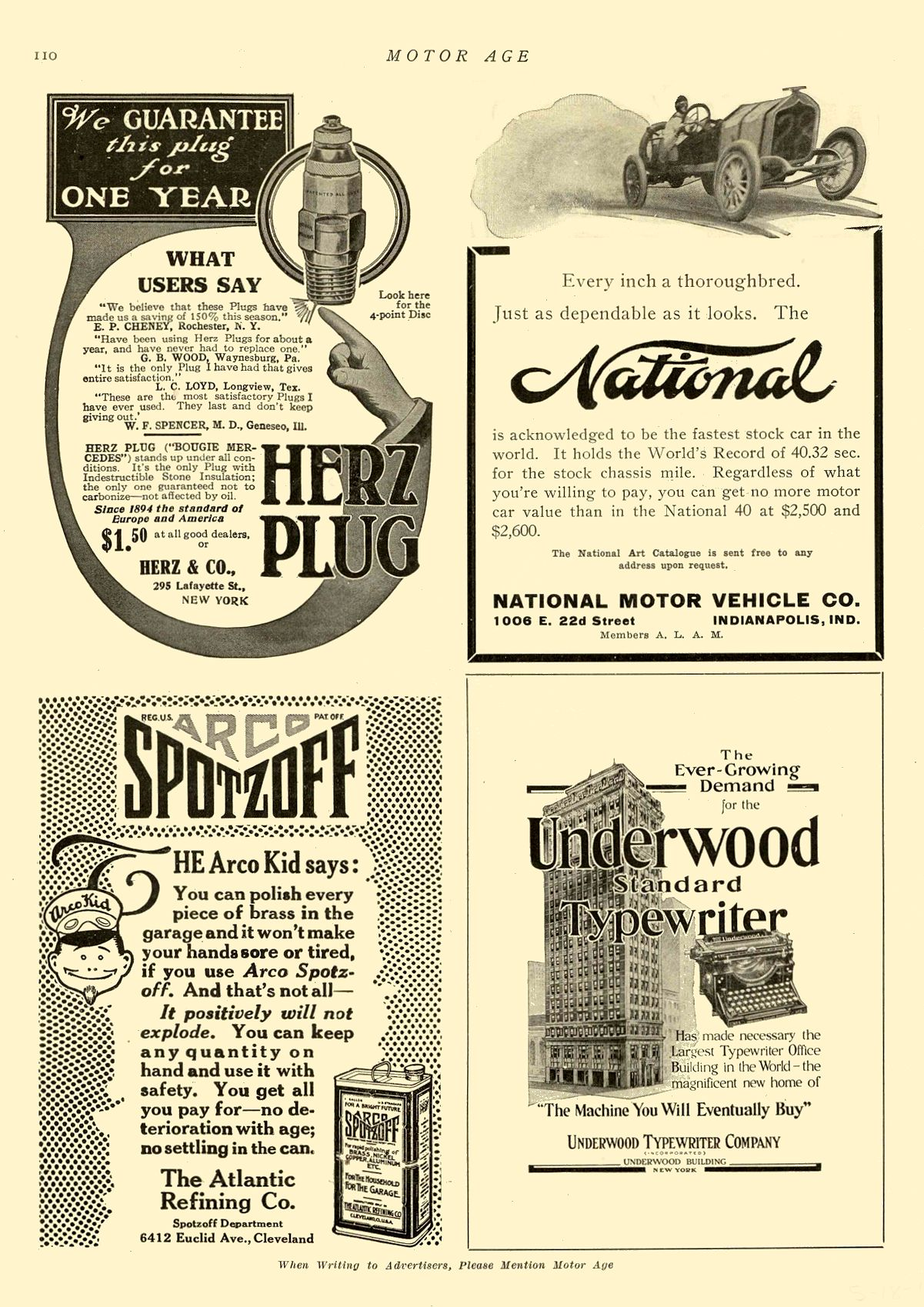 1911 5 18 NATIONAL National Every inch a thoroughbred. NATIONAL MOTOR VEHICLE CO. Indianapolis, IND MOTOR AGE May 18, 1911 8.5″x12″ page 110