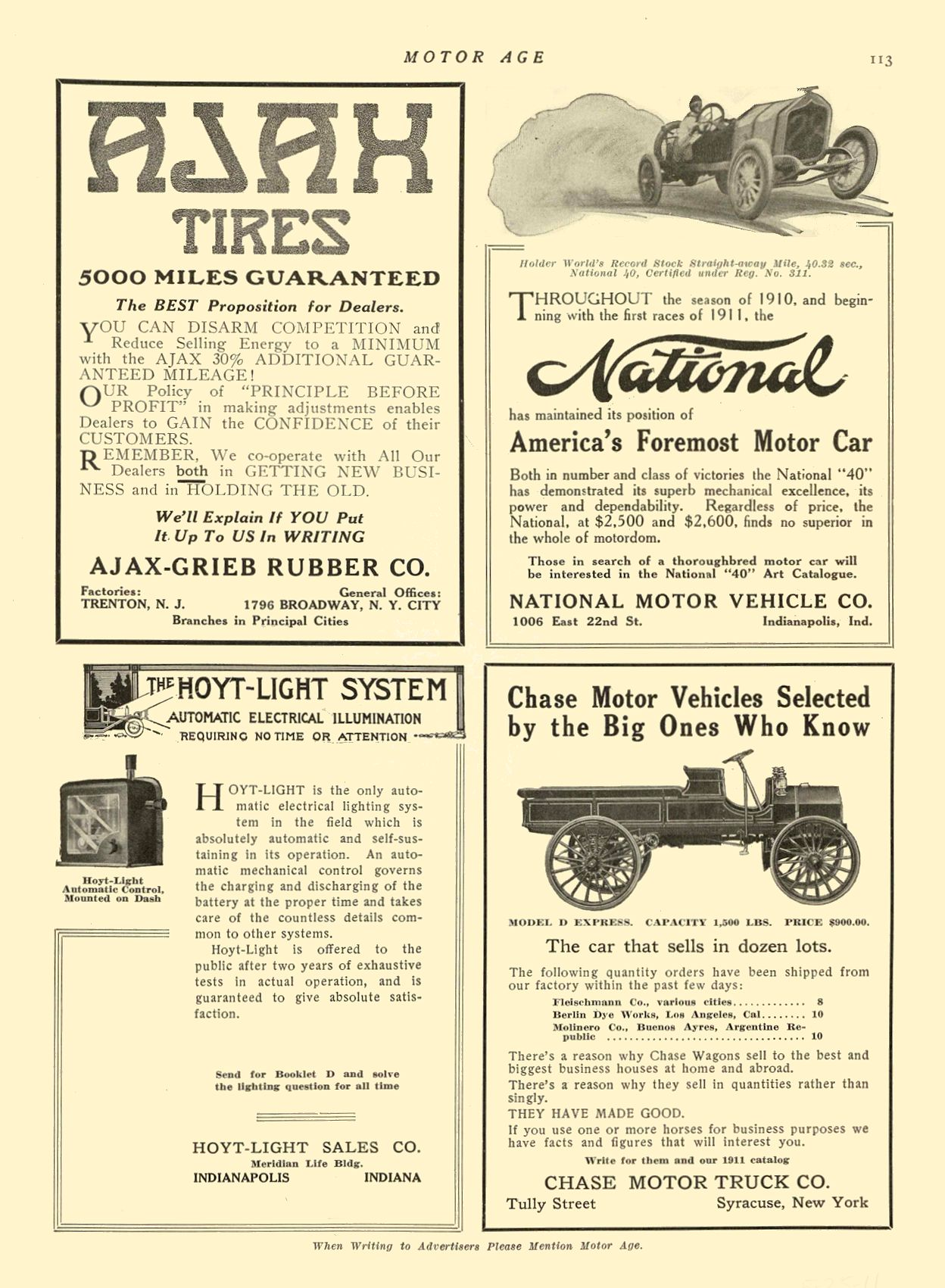 1911 5 25 NATIONAL National America's Foremost Motor Car NATIONAL MOTOR VEHICLE CO. Indianapolis, IND MOTOR AGE May 25, 1911 8.5″x12″ page 113