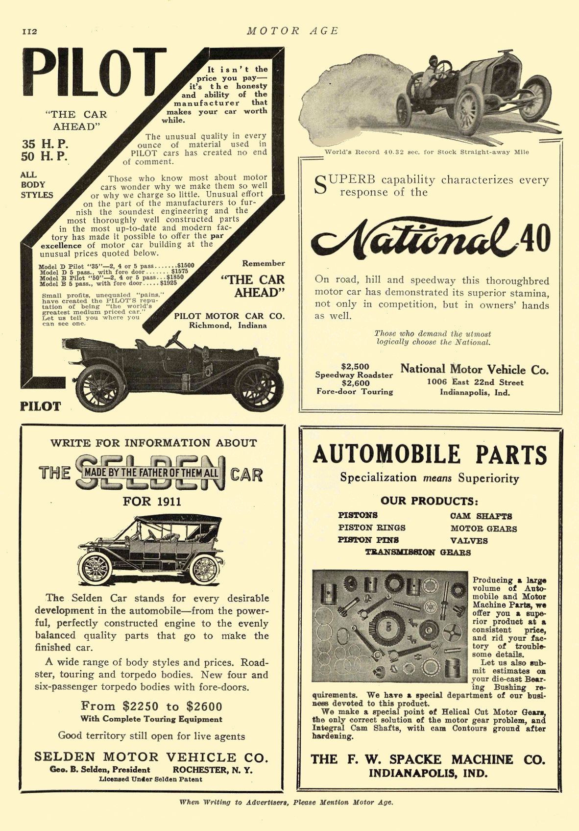 1911 6 15 NATIONAL National 40 National Motor Vehicle Co. Indianapolis, IND MOTOR AGE June 15, 1911 8.5″x12″ page 112